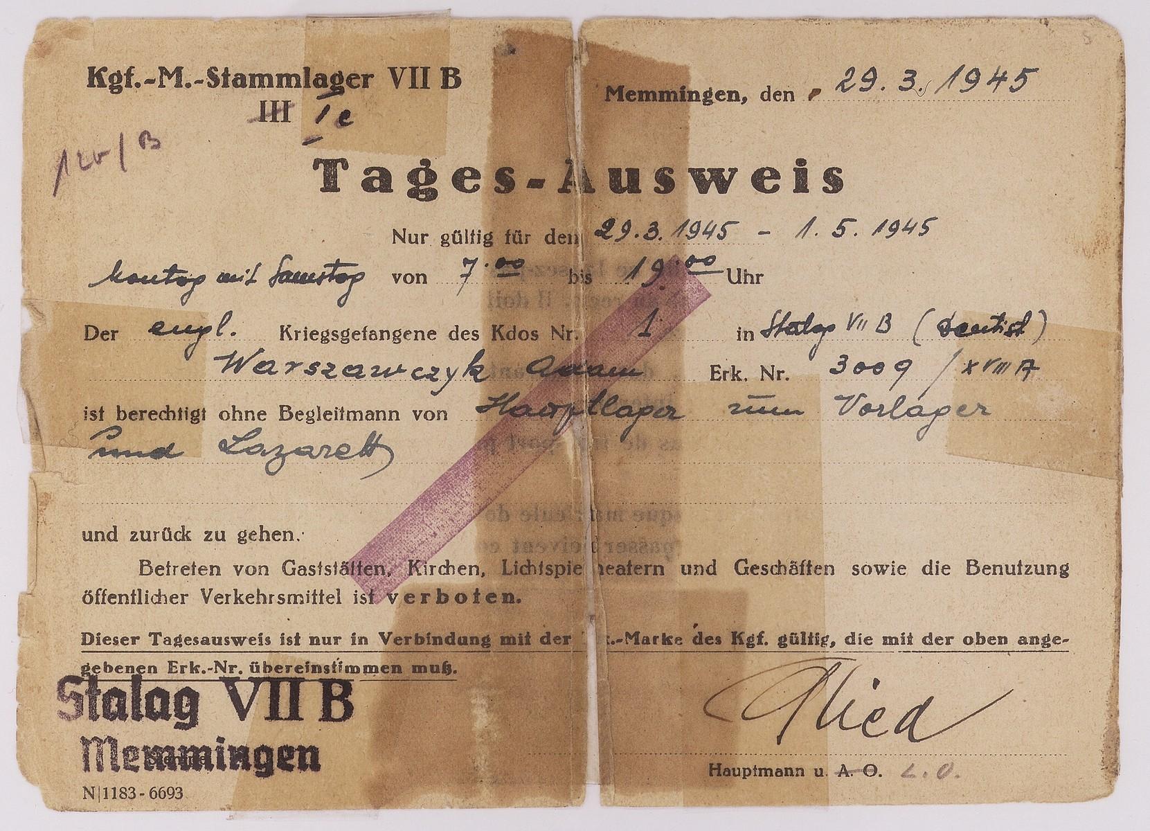 Day pass issued to Adam Warszawczyk, a Jewish POW imprisoned in Memmingen.
