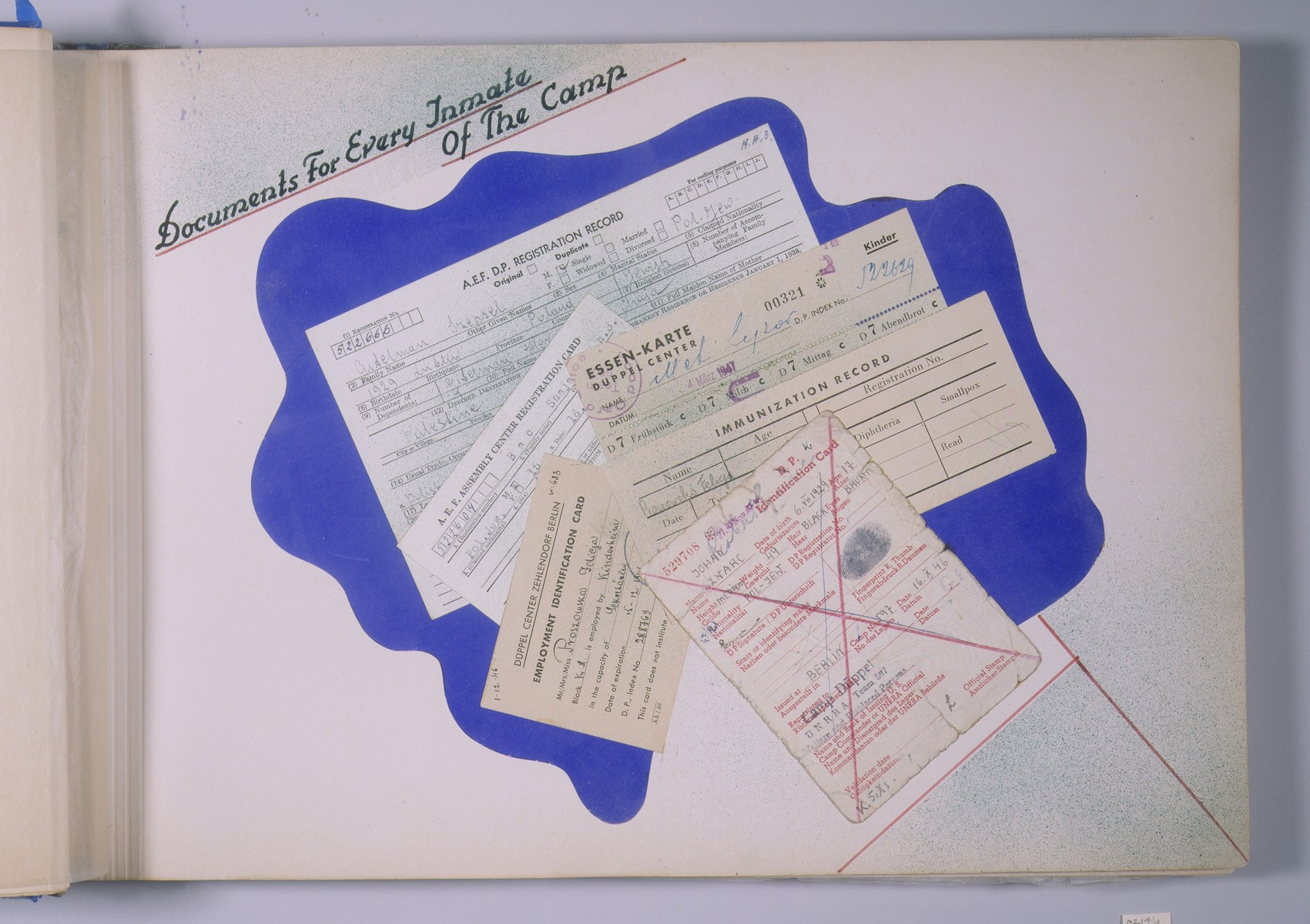"""One page of a scrapbook/photo album that includes photographs of different types of documents held by Jews living in the Schlachtensee displaced persons camp.  The page bears the heading, """"Documents for Every Inmate of the Camp.""""   The album was assembled by Pinkus Proszowski, a graphic designer originally from Lodz, who served as director of the children's home in the Schlachtensee displaced persons camp."""