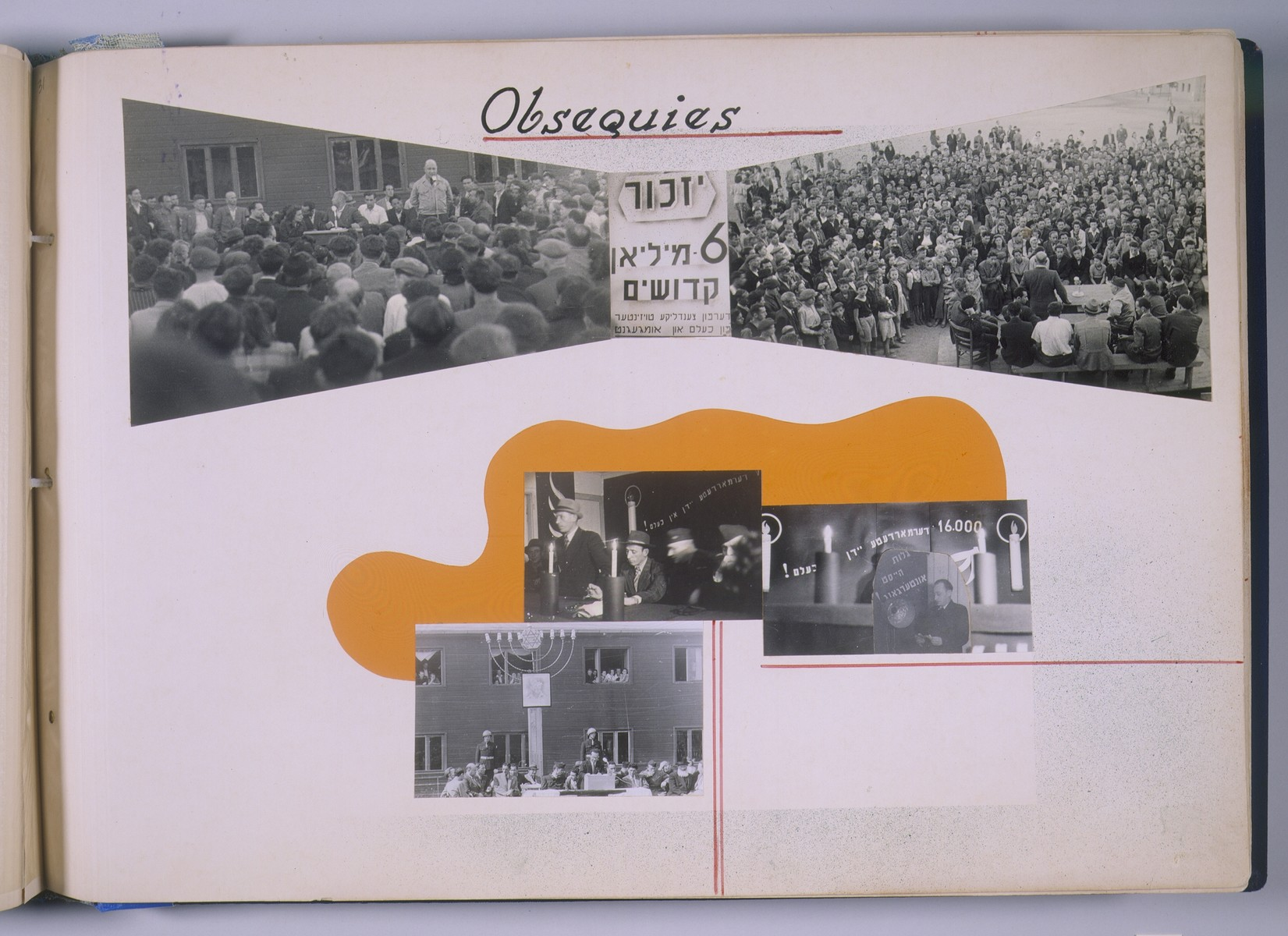 """One page of a scrapbook/photo album that includes photographs of memorial ceremonies [probably at the Schlachtensee displaced persons camp].  The page bears the heading, """"Obsequies.""""   The album was assembled by Pinkus Proszowski, a graphic designer originally from Lodz, who served as director of the children's home in the Schlachtensee displaced persons camp."""