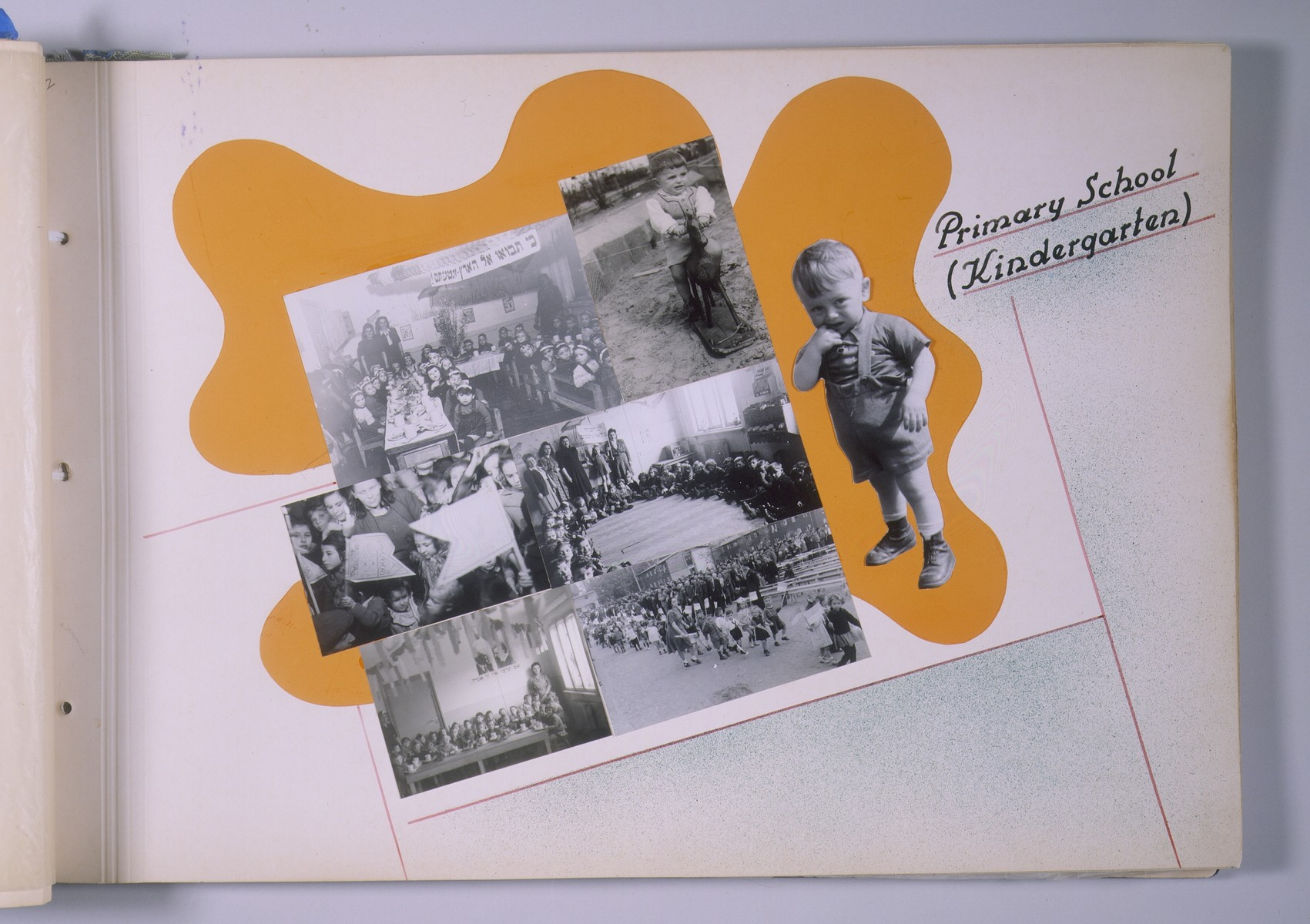 "One page of a scrapbook/photo album that includes photographs of kindergarten activities [probably at the Schlachtensee displaced persons camp].  The page bears the heading, ""Primary School (Kindergarten).""   The album was assembled by Pinkus Proszowski, a graphic designer originally from Lodz, who served as director of the children's home in the Schlachtensee displaced persons camp."