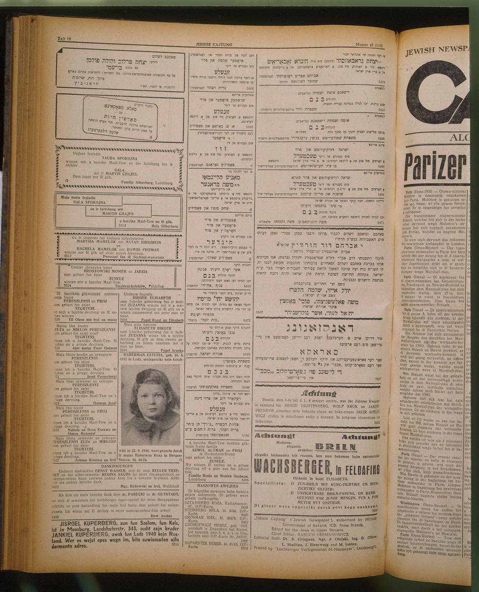 An advertisement with photo published in the Jidisze Cajtung by a Jewish DP mother in Bergen-Belsen seeking information about her daughter, Estusia Haberman, who was born in Lodz and deported to Auschwitz in 1944.  The advertisement appears on page 10 of issue number 47 (115), June 27, 1947, of the semi-weekly Jidisze Cajtung, published in Landsberg am Lech.
