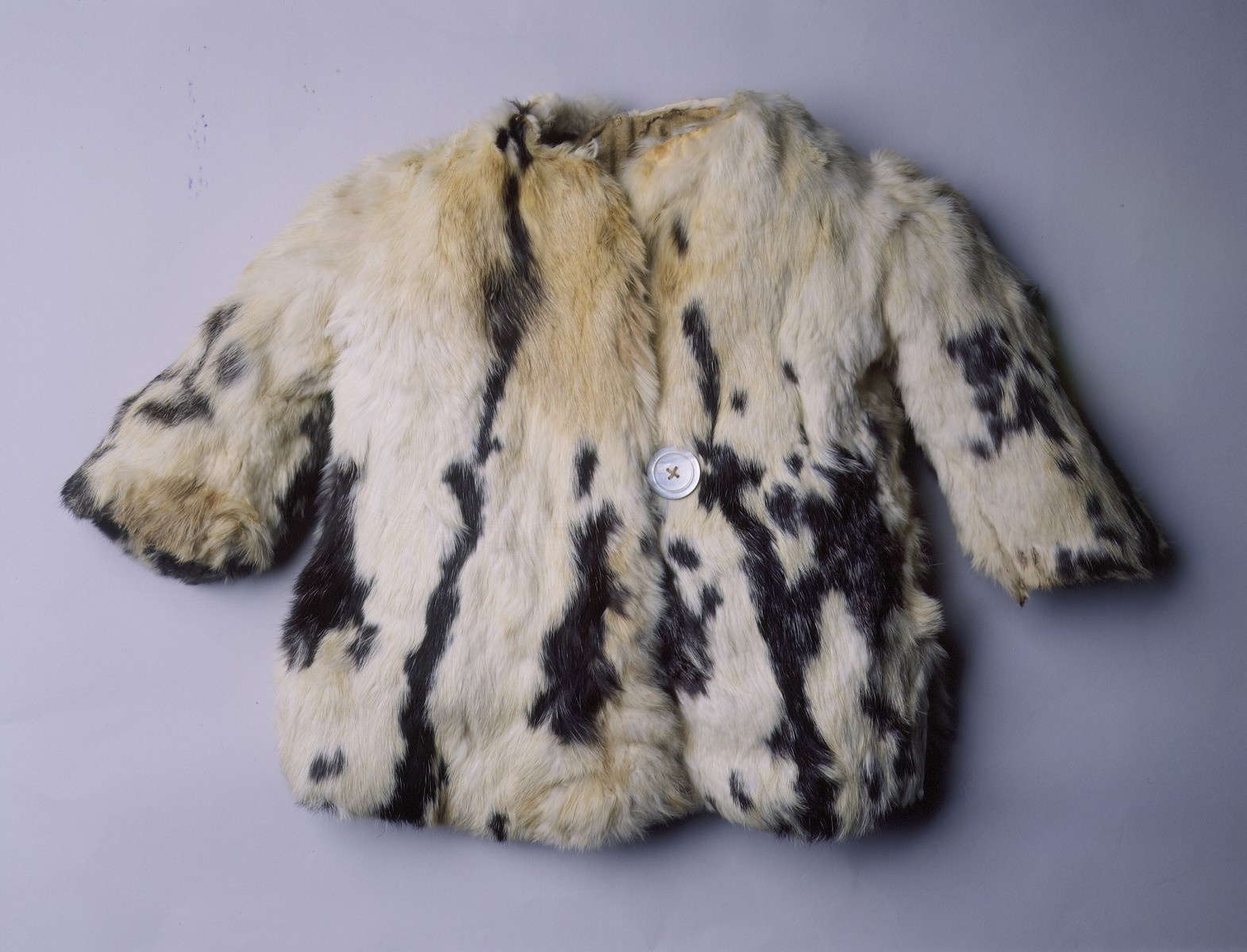 A child's fur coat that was worn by Mirjam Kushelewicz in the Lampertheim displaced persons camp.