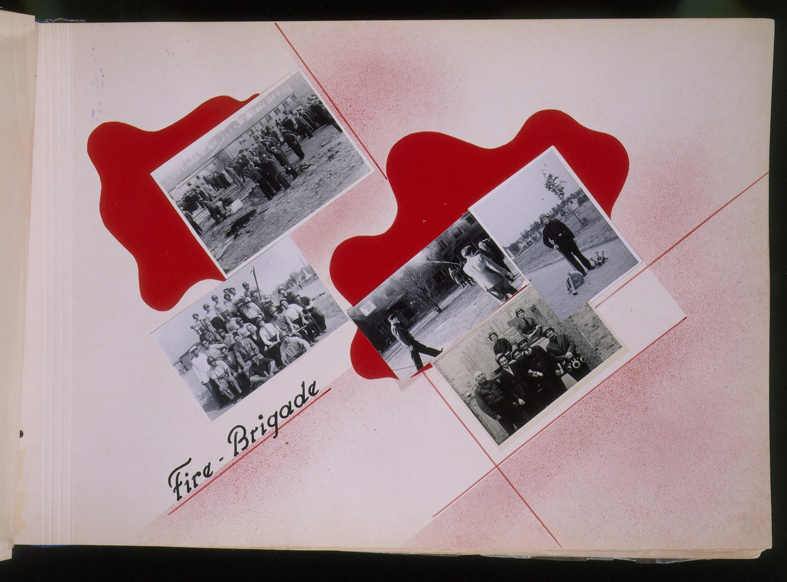 """One page of a scrapbook/photo album that includes photographs of the Jewish fire brigade at the Schlachtensee displaced persons camp.  The page bears the heading, """"Fire-Brigade.""""   The album was assembled by Pinkus Proszowski, a graphic designer originally from Lodz, who served as director of the children's home in the Schlachtensee displaced persons camp."""
