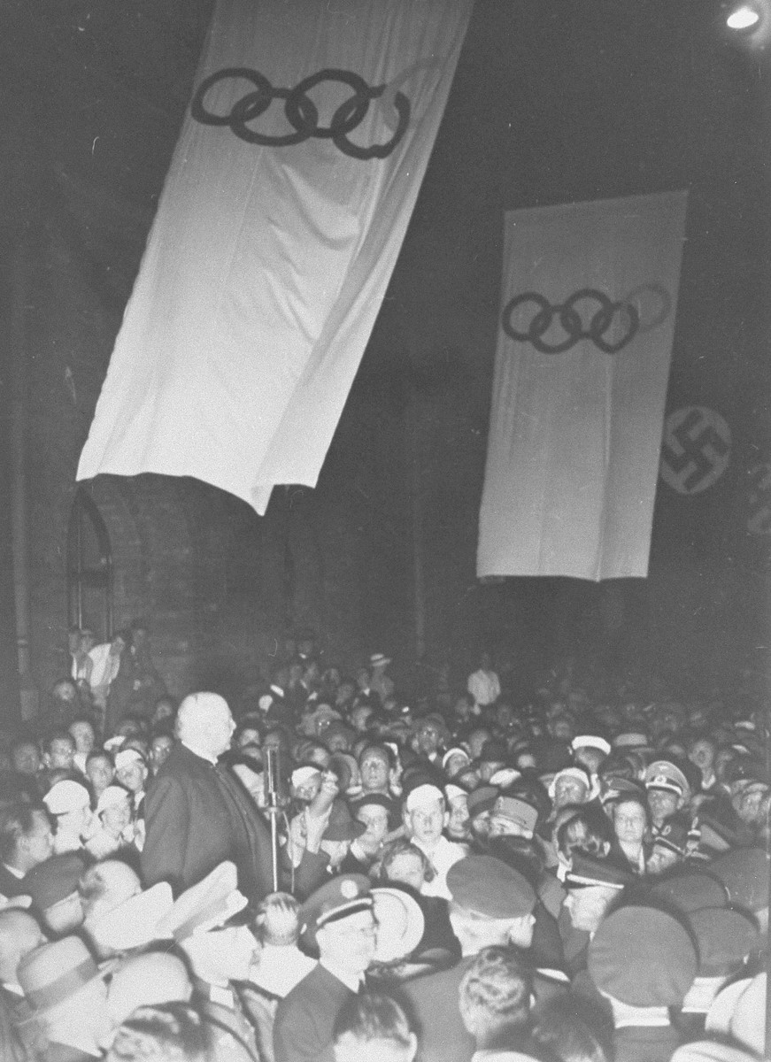 Dr. Theodor Lewald speaks on the occasion of the 11th Olympiad.    Lewald was president of the German Olympic Committee until 1933 when he was ousted by the Nazis for being half-Jewish.