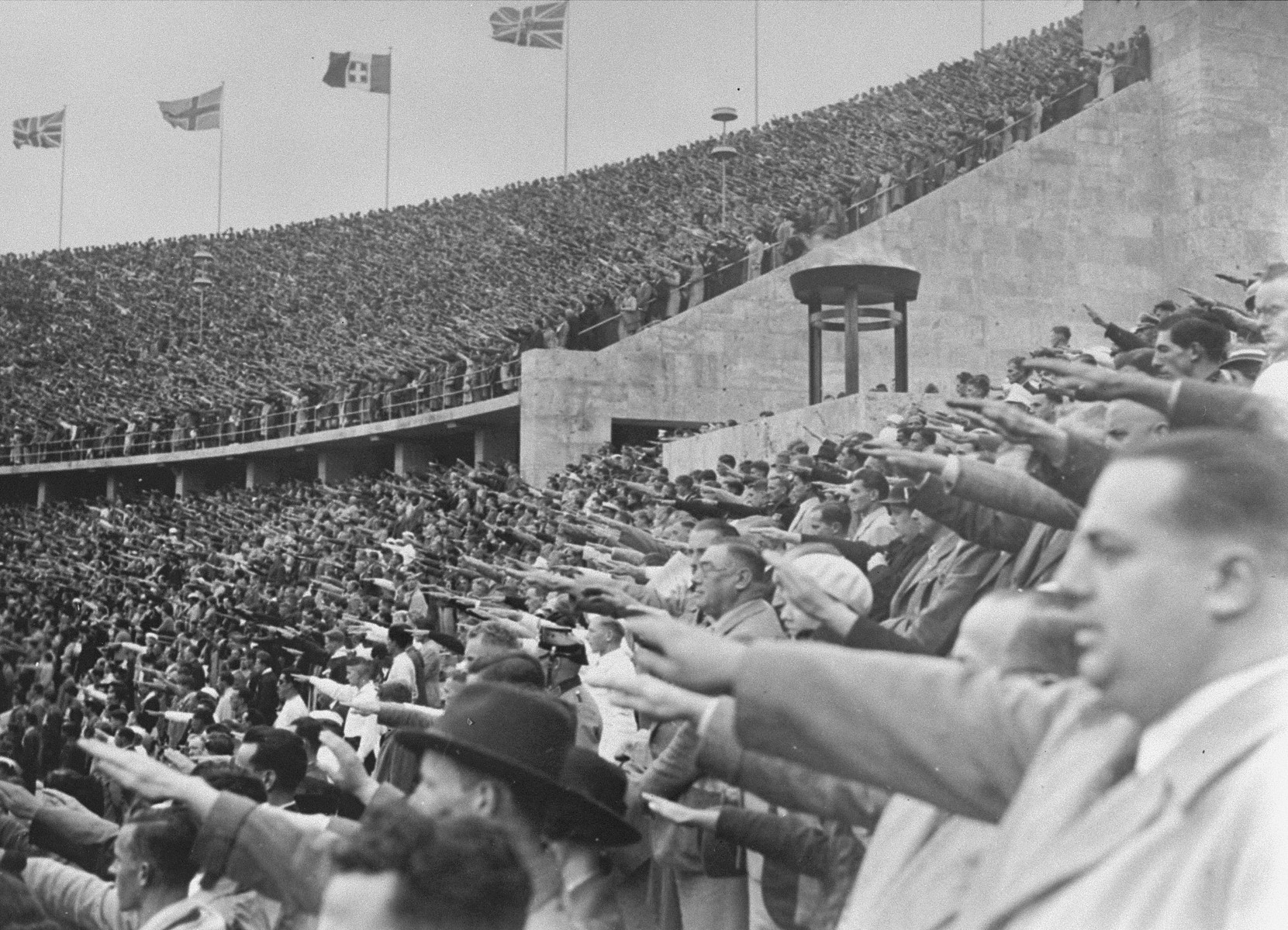German citizens saluting Adolf Hitler at the opening of the 11th Olympiad in Berlin.  [ALSO HAVE OVERSIZED PRINT]