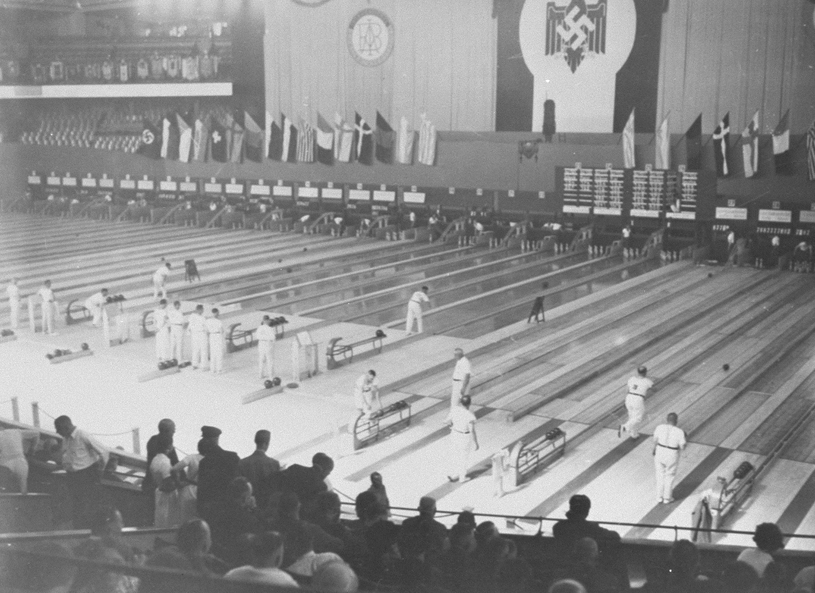 Bowling, an exhibition event at the 11th Olympic Games.