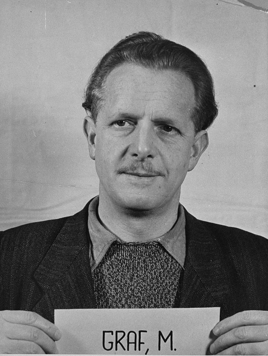 Defendant Mathias Graf at the Einsatzgruppen Trial.  Graf was an officer in Einsatzkommando 6 of Einsatzgruppe C.