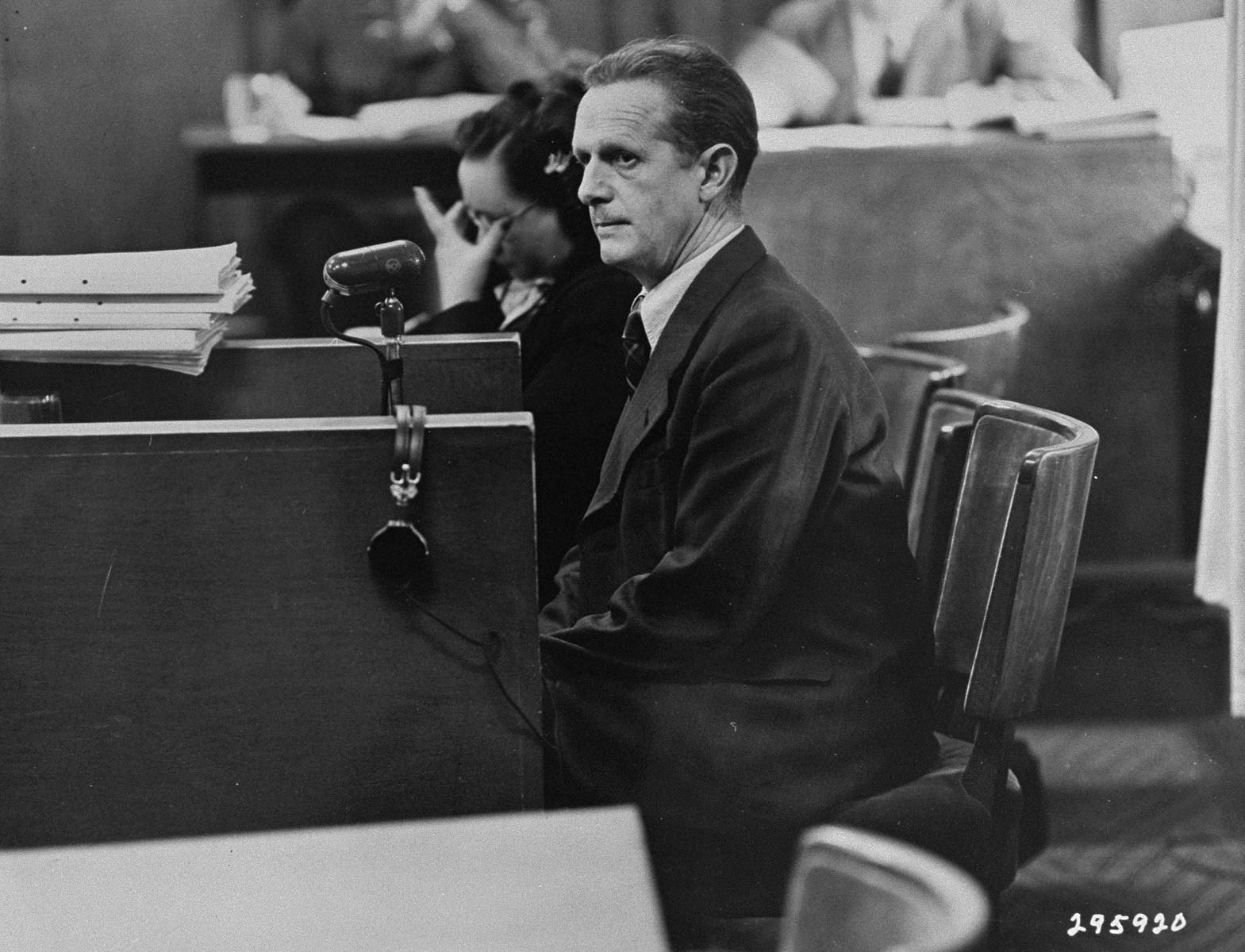 Defendant Mathias Graf testifies in his own defense at the Einsatzgruppen Trial.