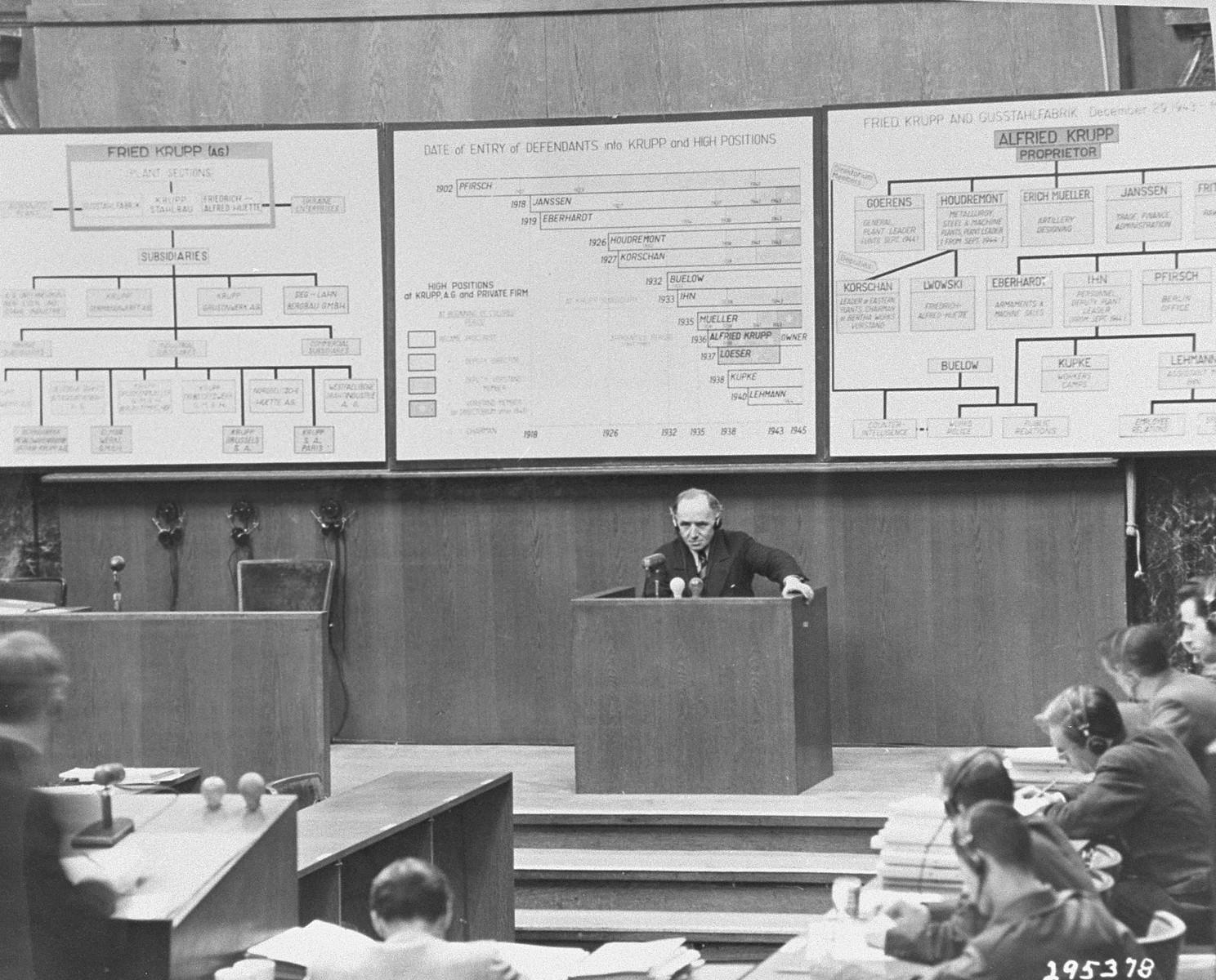 Walter Gumpert testifies during the Krupp Trial.
