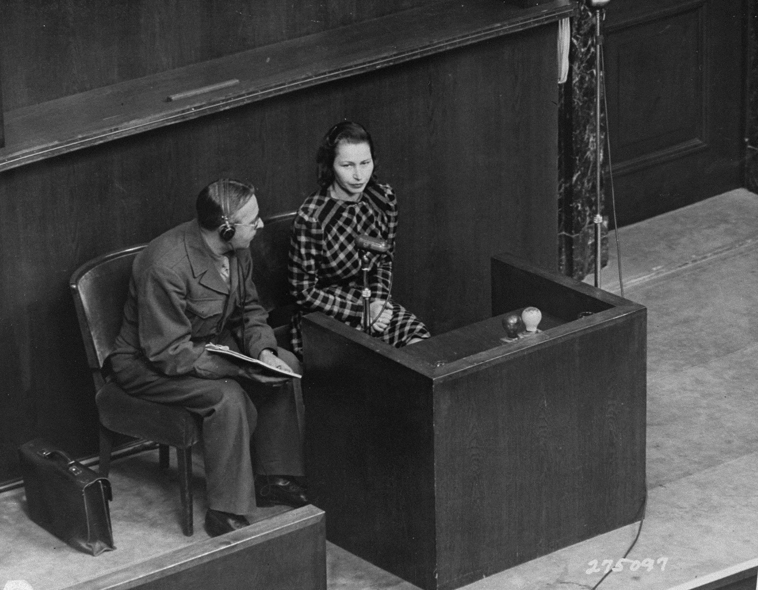 Wladislava Karolewska, one of four Polish women to appear as prosecution witnesses, on the stand at the Doctors Trial.