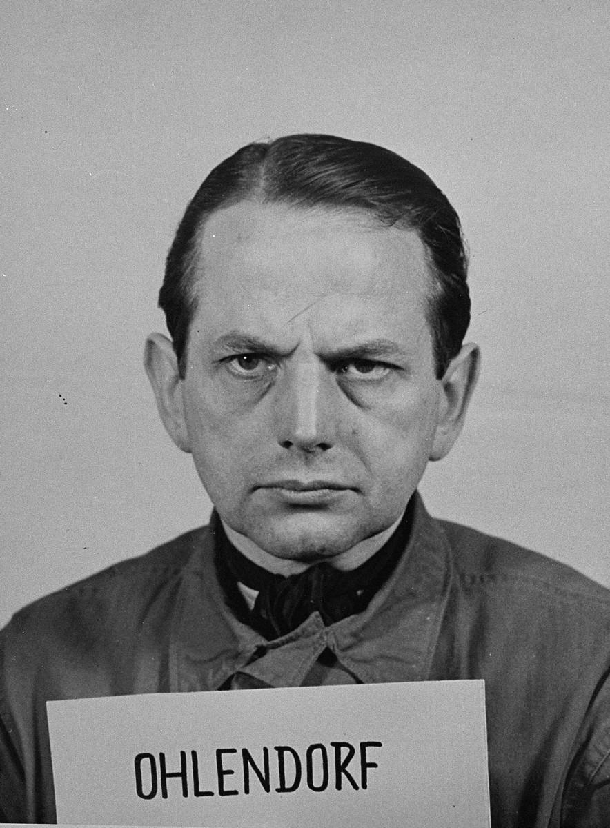 Mug-shot of defendant Otto Ohlendorf at the Einsatzgruppen Trial.  Ohlendorf was the Commanding Officer of Einsatzgruppe D.