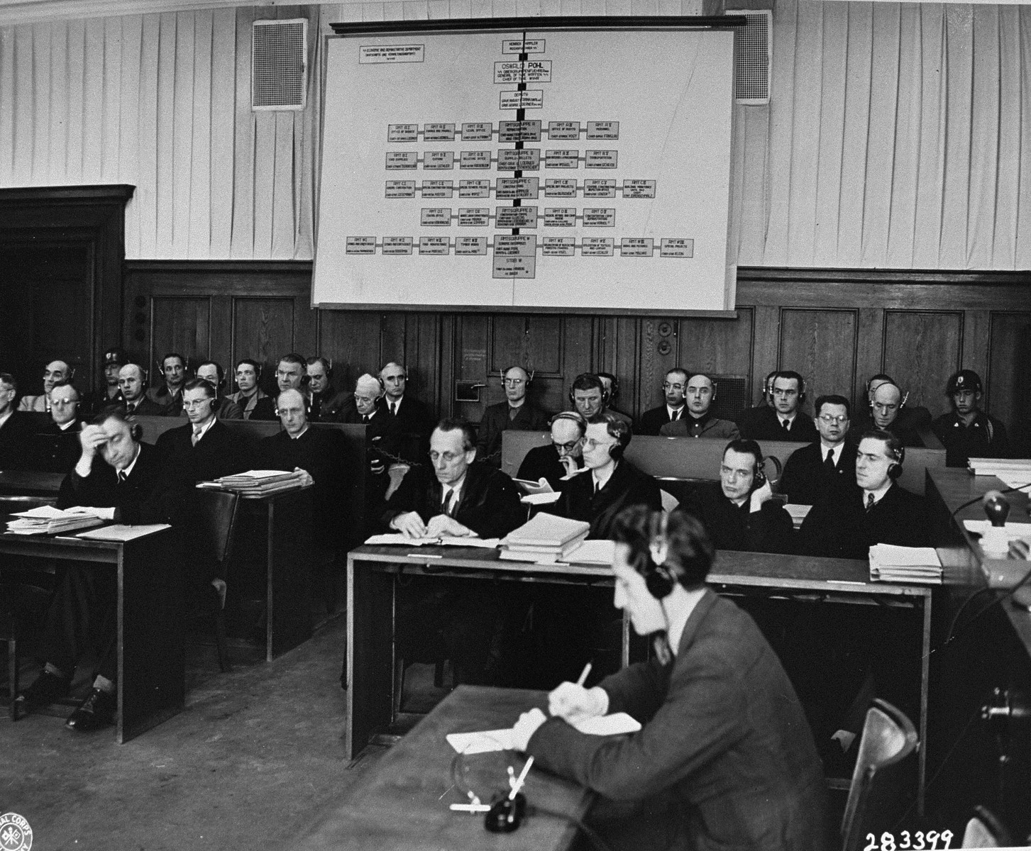 The defendants (back) and their lawyers (front) follow the proceedings of the Pohl/WVHA trial, the fourth subsequent Nuremberg trial.