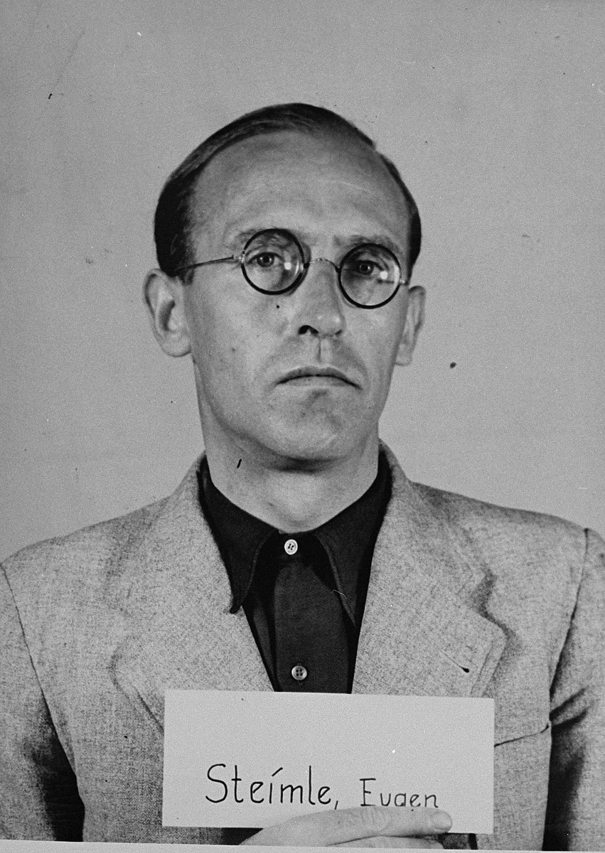 Mug-shot of defendant Eugen Steimle at the Einsatzgruppen Trial.  Steimle was the Commanding Officer of Sonderkommando 7a in Einsatzgruppe B and of Sonderkommando 4a in Einsatzgruppe C.