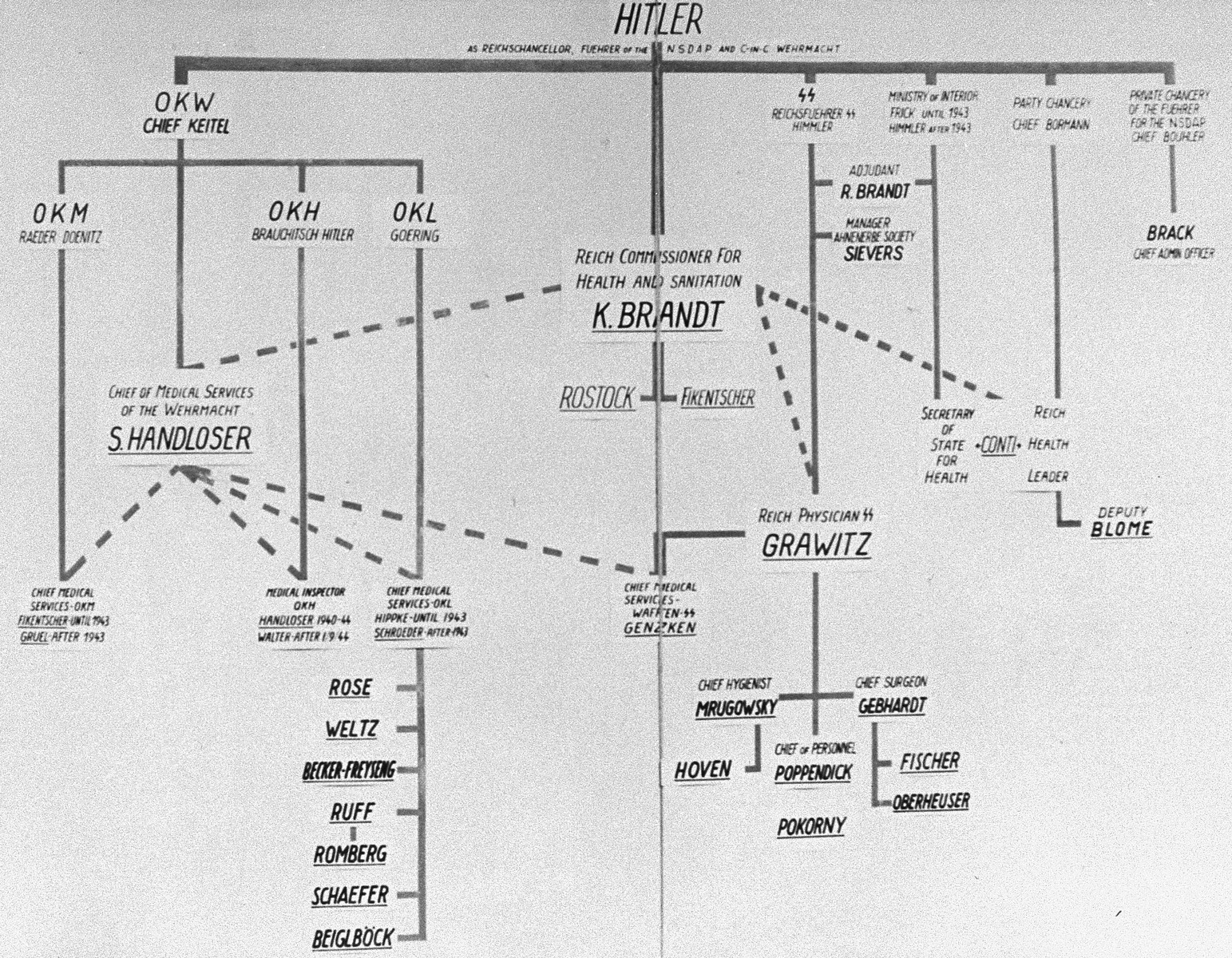 A diagram of the medical chain of command in the Third Reich, drawn up as evidence for the Medical Case (Doctors') Trial in Nuremberg.