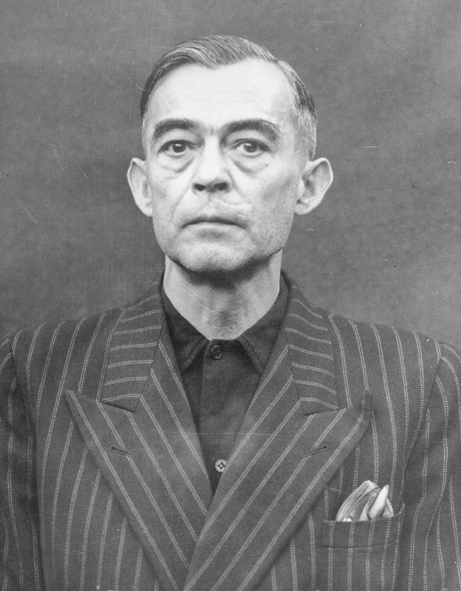 Portrait of Kurt Blome as a defendant in the Medical Case Trial at Nuremberg.