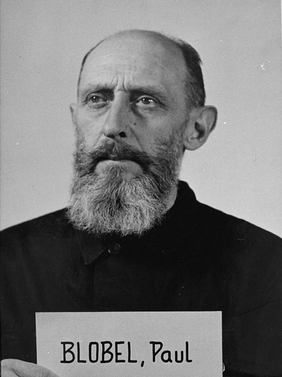 Mug shot of defendant Paul Blobel at the Einsatzgruppen Trial.