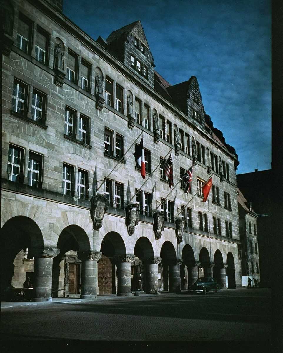 The Palace of Justice in Nuremberg, where the International Military Tribunal trial of war criminals was held.  The flags of the four prosecuting countries hang above the entrance.