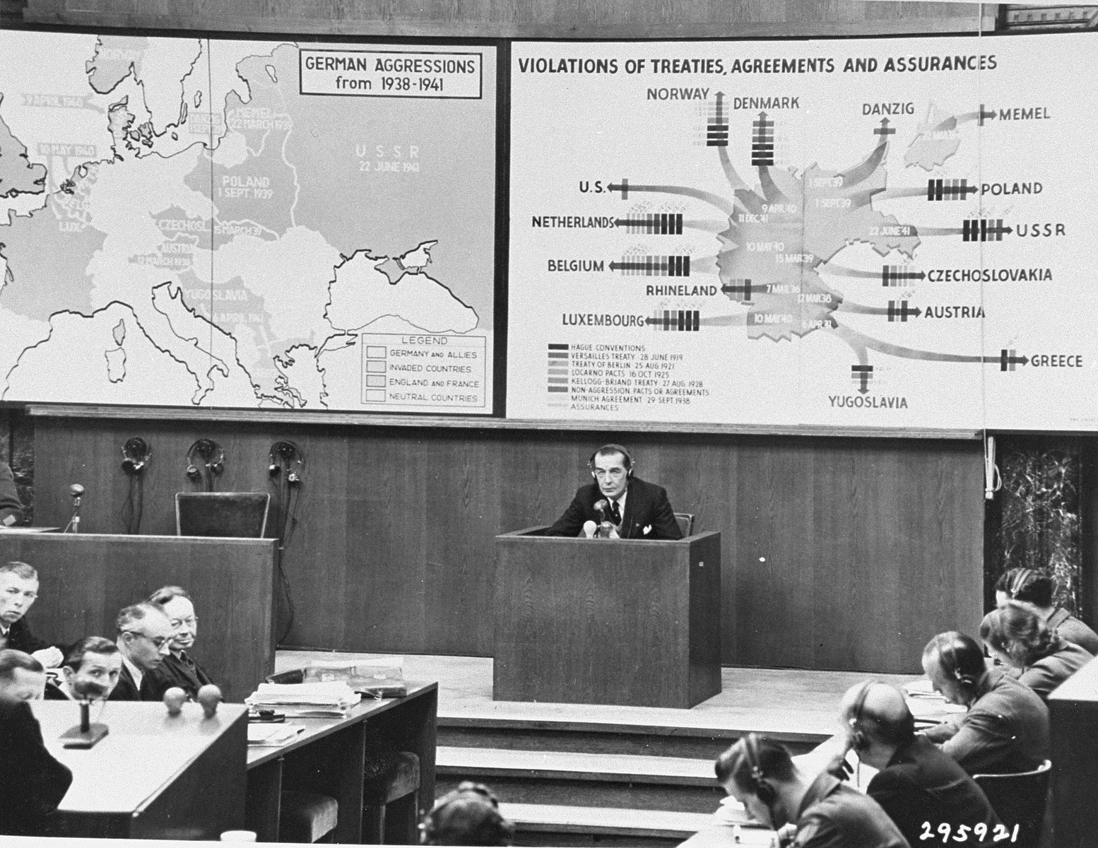 Theodor von Hornbostel testifies for the prosecution during the Ministries Trial. Hornbostel served as the chief of the Political Department in the Austrian Ministry for Foreign Affairs under Chancellors Dollfuss and Schuschnigg, 1933-1938. Under Nazi rule he spent the years 1938 through 1943 in Dachau and Buchenwald.