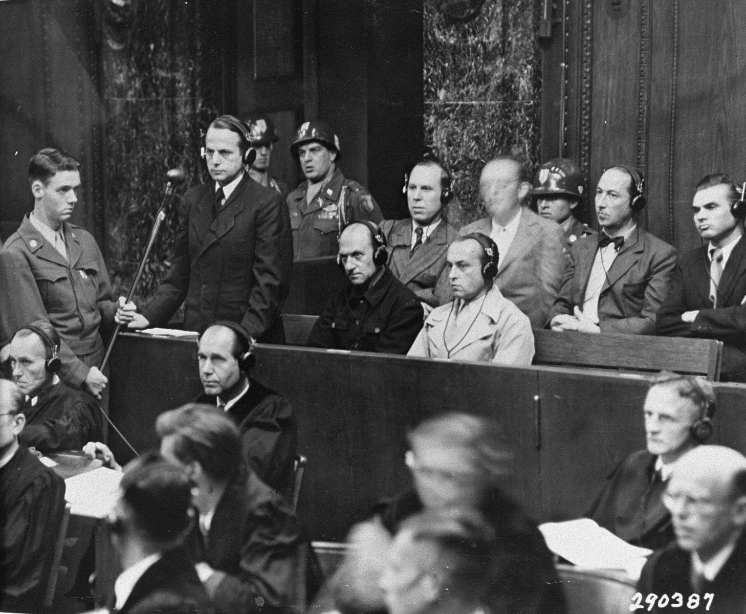 """Defendant Otto Ohlendorf pleads """"not guilty"""" during his arraignment at the Einsatzgruppen Trial."""