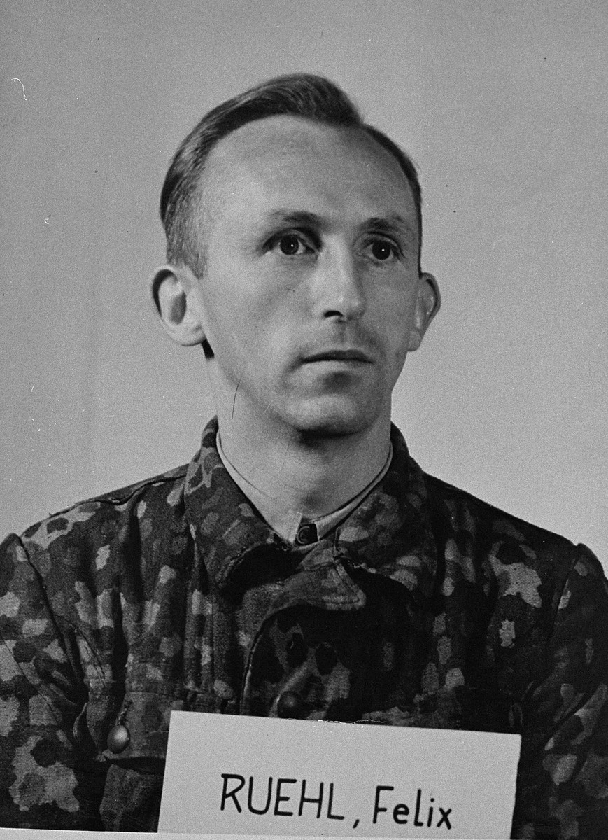 Mug-shot of defendant Felix Ruehl at the Einsatzgruppen Trial.  Ruehl was an officer in Sonderkommando 10b of Einsatzgruppe D.