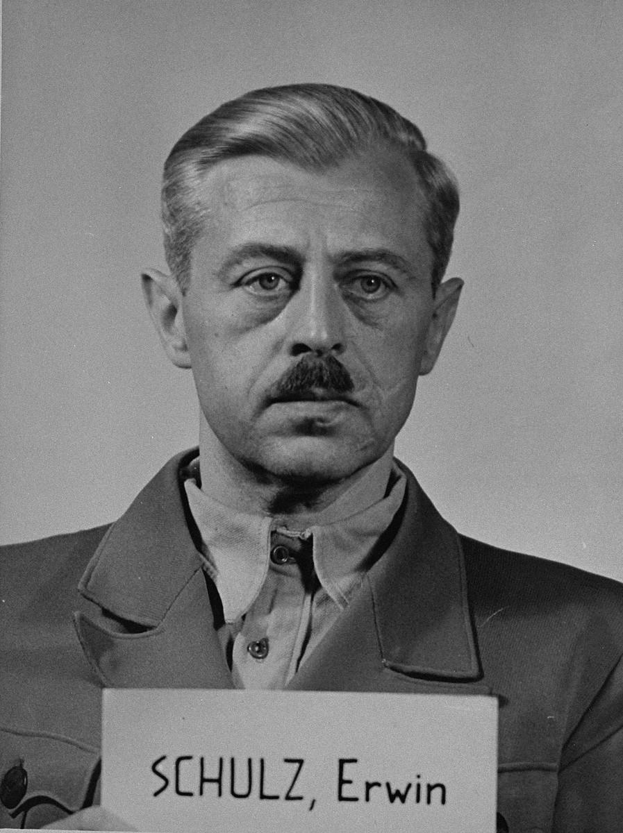 Mug-shot of defendant Erwin Schulz at the Einsatzgruppen Trial.  Schulz was the Commanding Officer of Einsatzkommando 5 of Einsatzgruppe C.