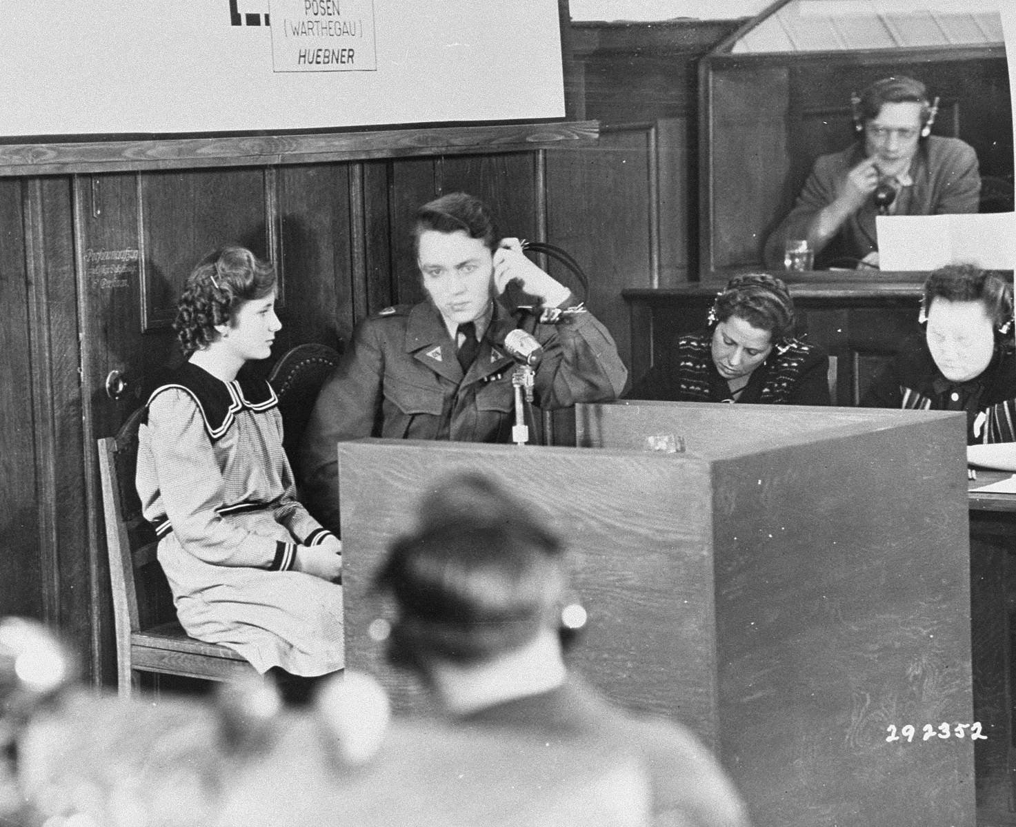 Fifteen-year-old Maria Dolezalova testifies for the prosecution at the RuSHA Trial.  She was one of the children kidnapped by the Germans after they destroyed the town of Lidice, Czechoslovakia.