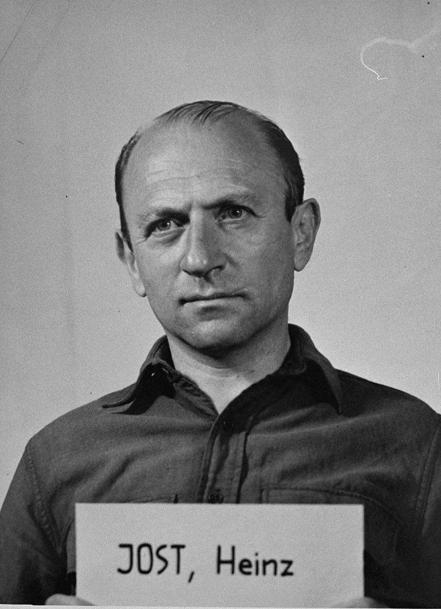 Defendant Heinz Jost at the Einsatzgruppen Trial.  Jost was the Commanding Officer of Einsatzgruppe A.