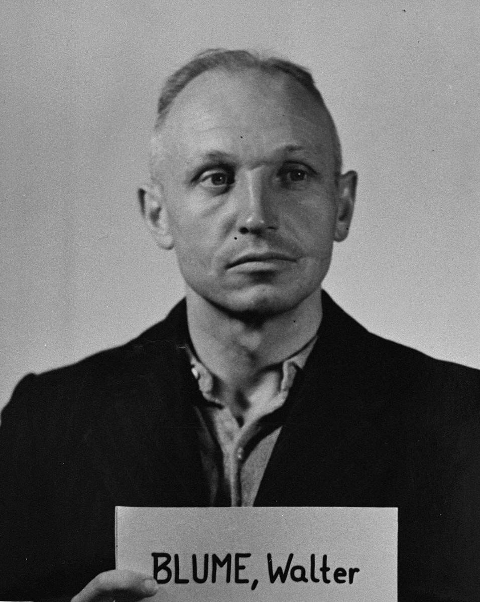 Mug-shot of defendant Walter Blume at the Einsatzgruppen Trial.