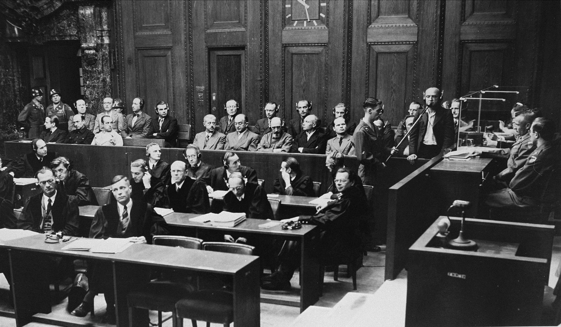 Defendant Ernst Biberstein pleads not guilty during his arraignment at the Einsatzgruppen Trial.