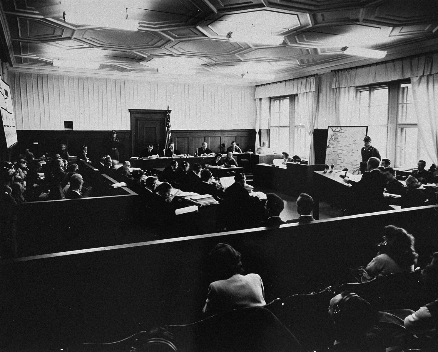 View of the courtroom in the Palace of Justice as chief prosecutor Benjamin Ferencz opens the Einsatzgruppen Trial.
