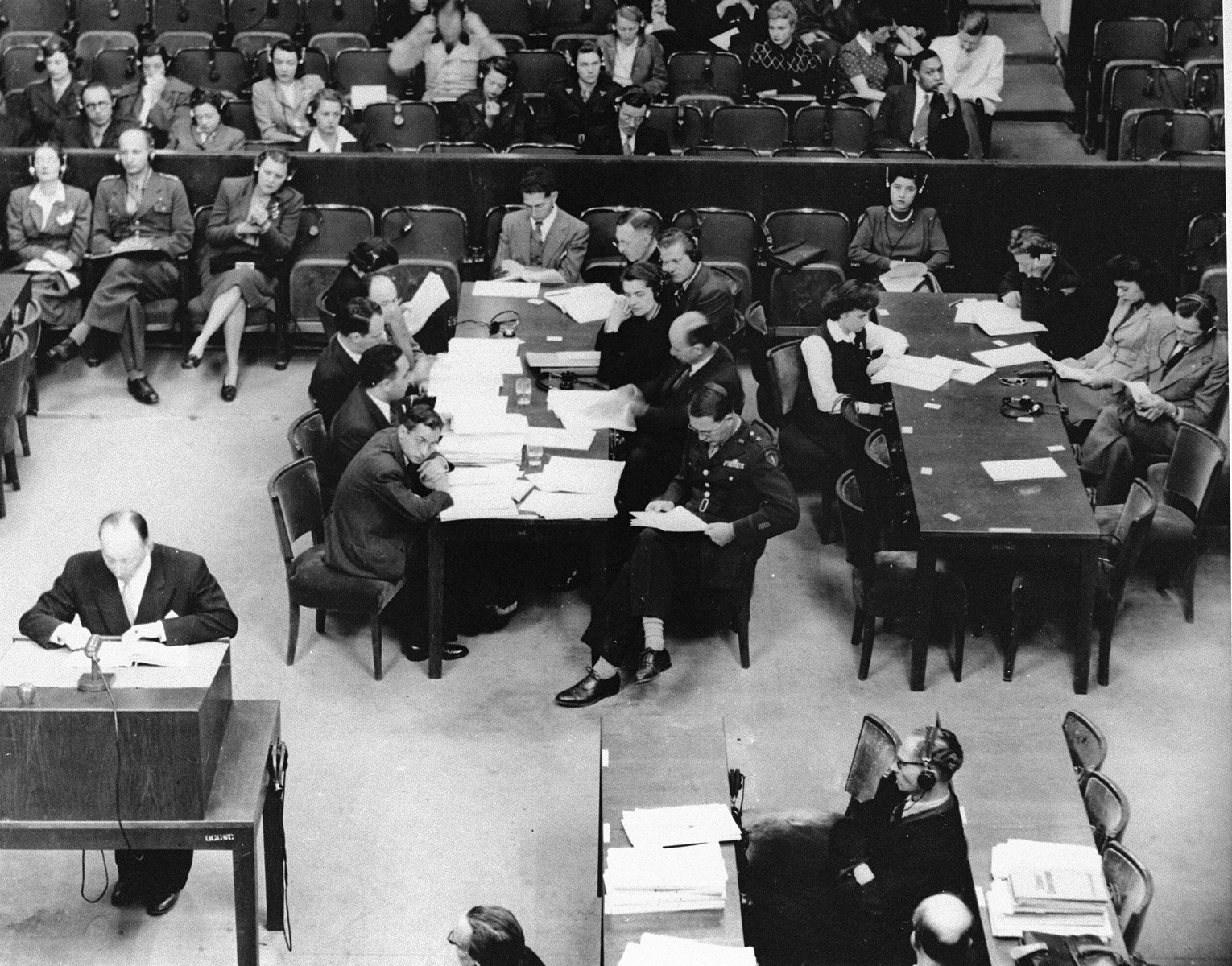 View of the prosecution table at the Medical Case (Doctors') Trial in Nuremberg.
