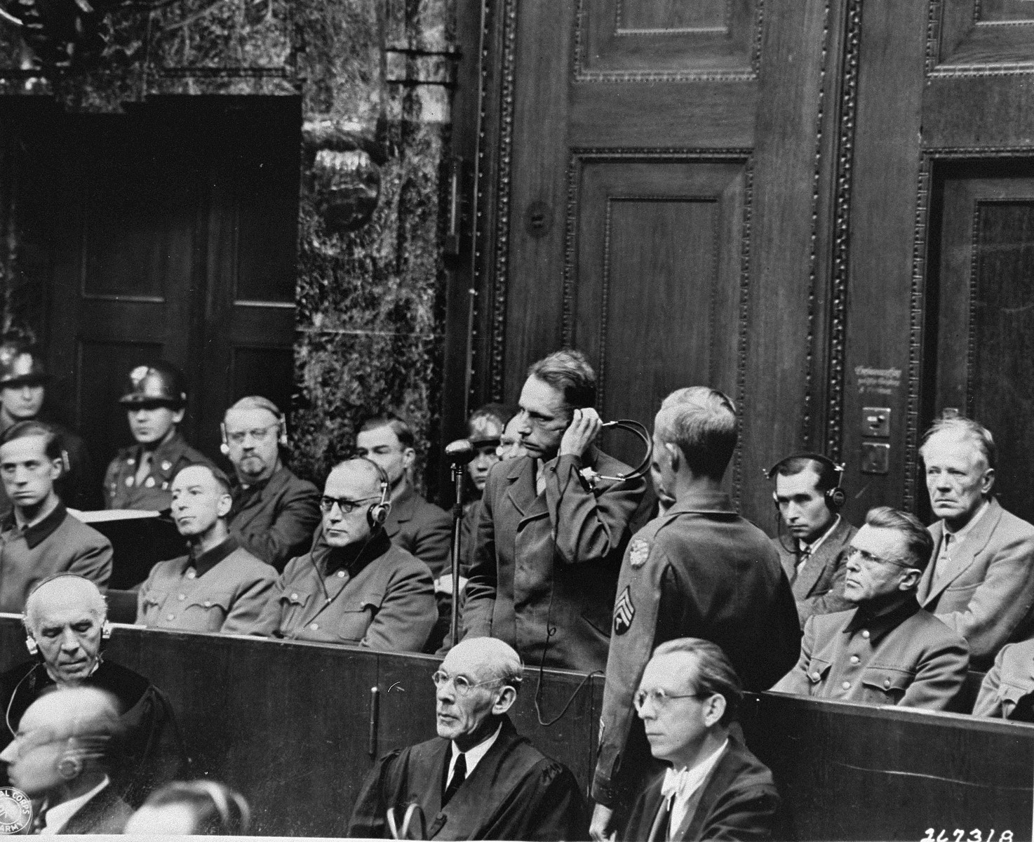 "Wilhelm Beiglboeck pleads ""not guilty"" to the charges against him at the Doctors Trial.  Beiglboeck was a consulting physician to the Luftwaffe."