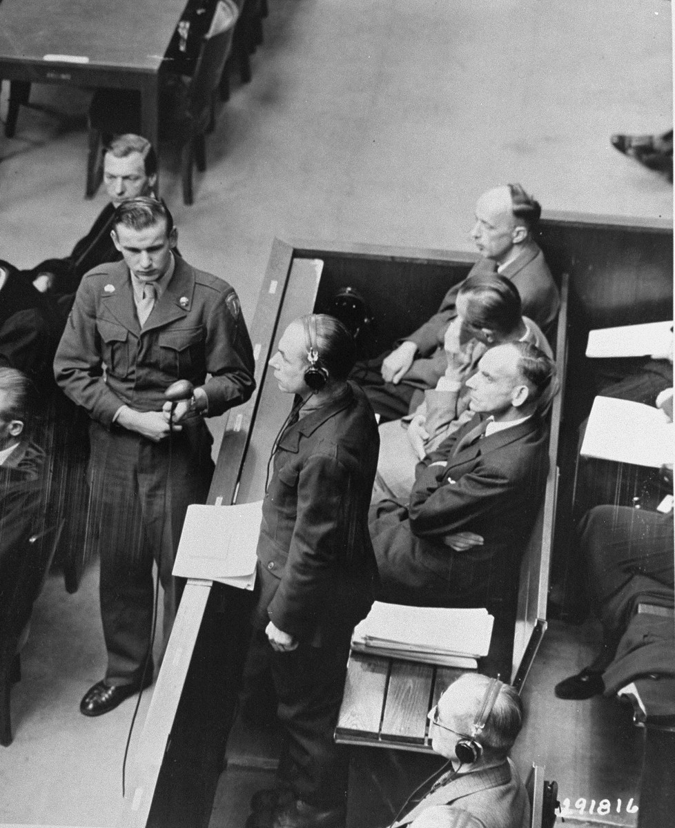 """Defendant Otto Schwarzenberger pleads """"not guilty"""" at his arraignment during the RuSHA Trial."""