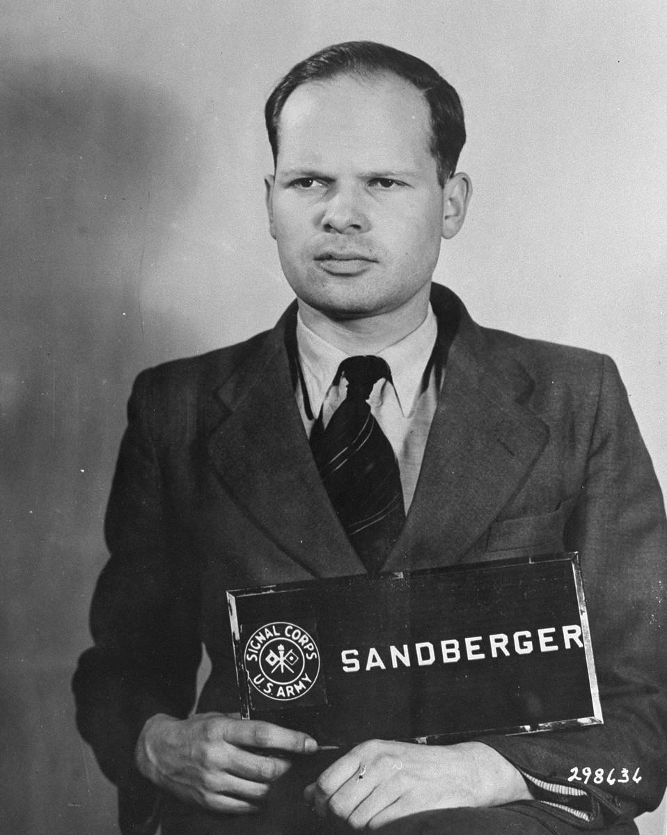 Defendant Martin Sandberger at the Einsatzgruppen Trial.  Sandberger was the Commanding Officer of Einsatzkommando 1a of Einsatzgruppe A.