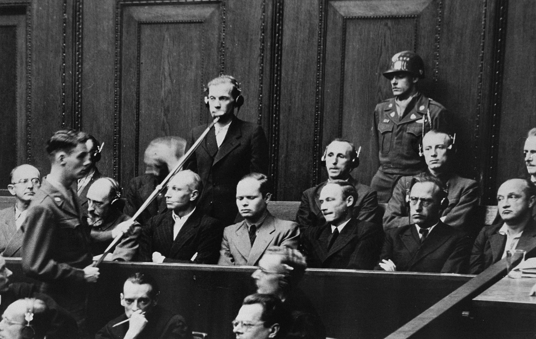 Defendant Waldemar von Radetzky pleads not guilty during his arraignment at the Einsatzgruppen Trial.