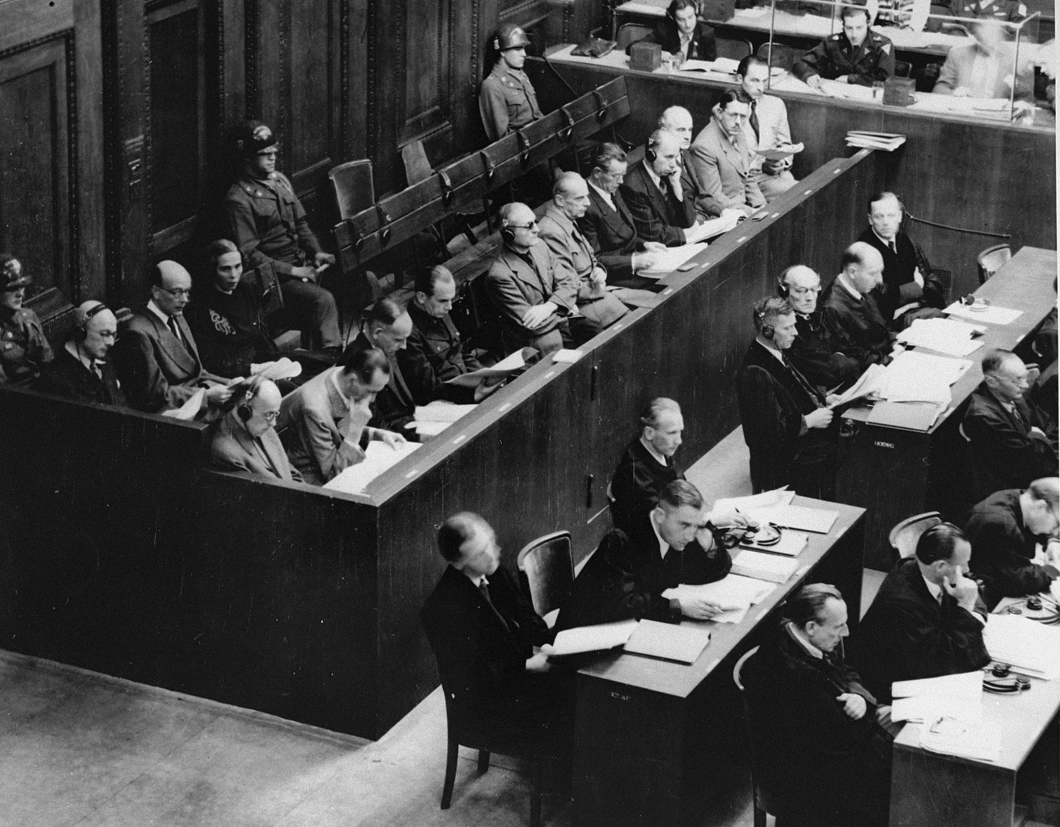 View of the defendants and their counsel during a session of the RuSHA Trial.