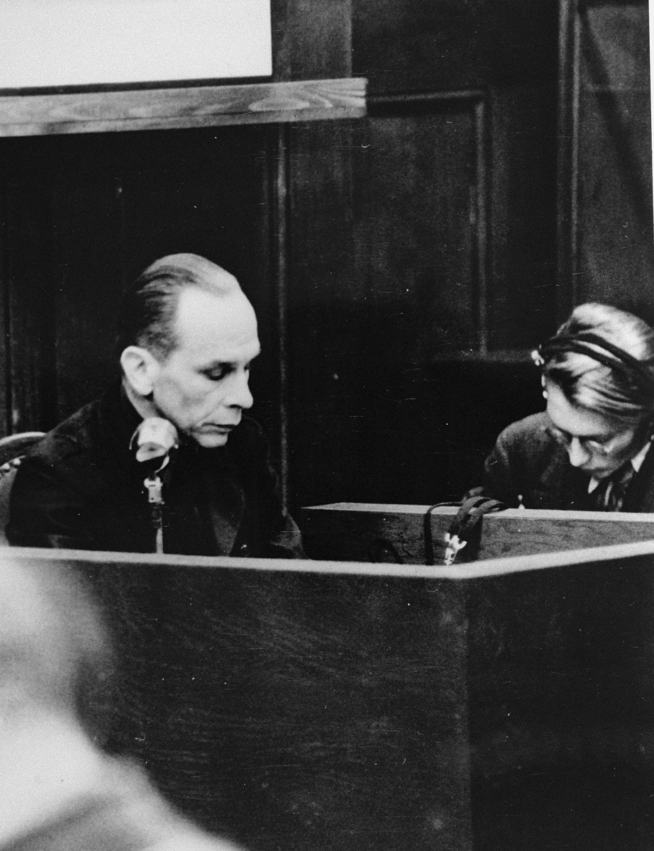 Defendant Otto Schwarzenberger, SS Colonel and chief of an office in the Staff Main Office of the Reich Commissioner for the Strengthening of Germandom, testifies in his own defense during the RuSHA Trial.