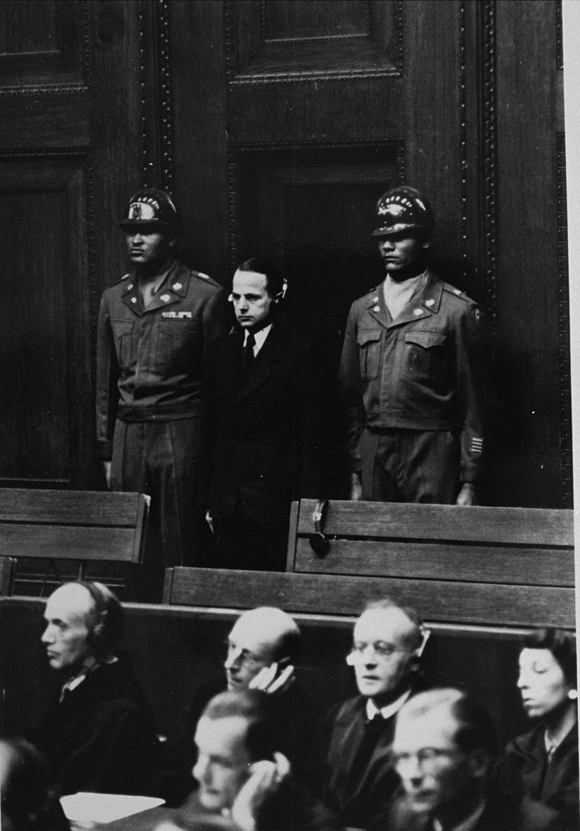 Defendant Otto Ohlendorf is sentenced to death by hanging at the Einsatzgruppen Trial.