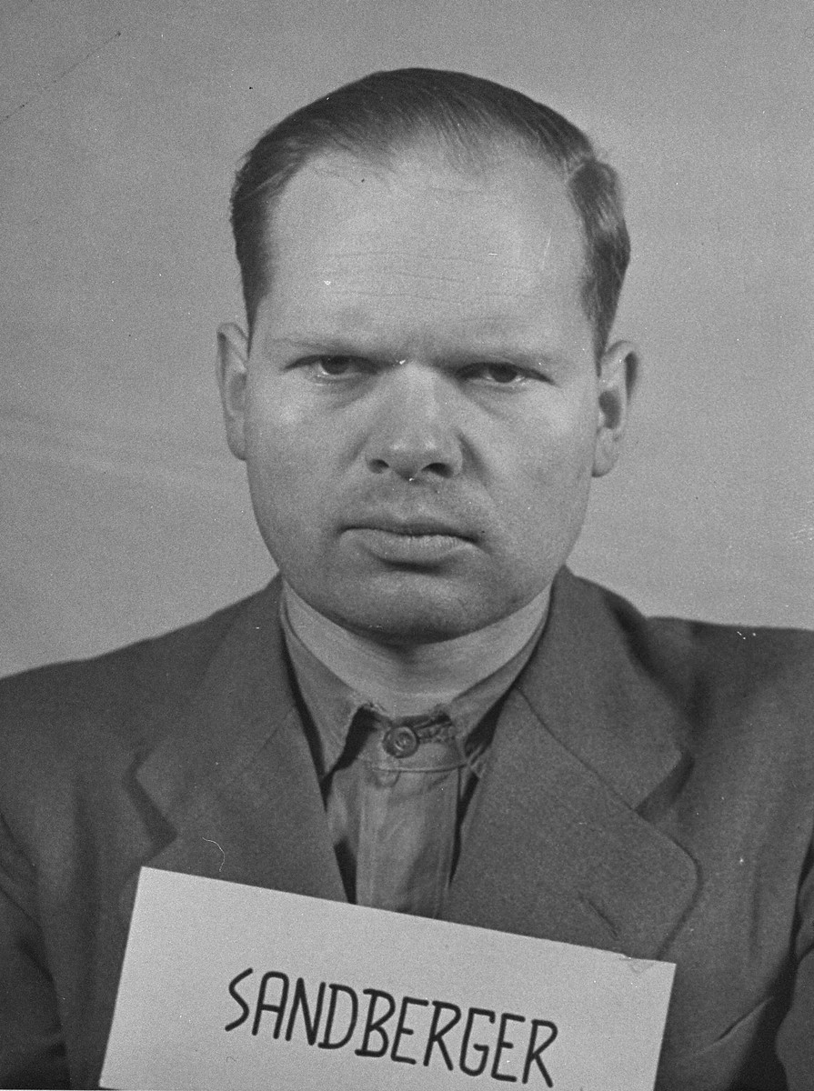 Mug-shot of defendant Martin Sandberger at the Einsatzgruppen Trial.  Sandberger was the Commanding Officer of Einsatzkommando 1a of Einsatzgruppe A.