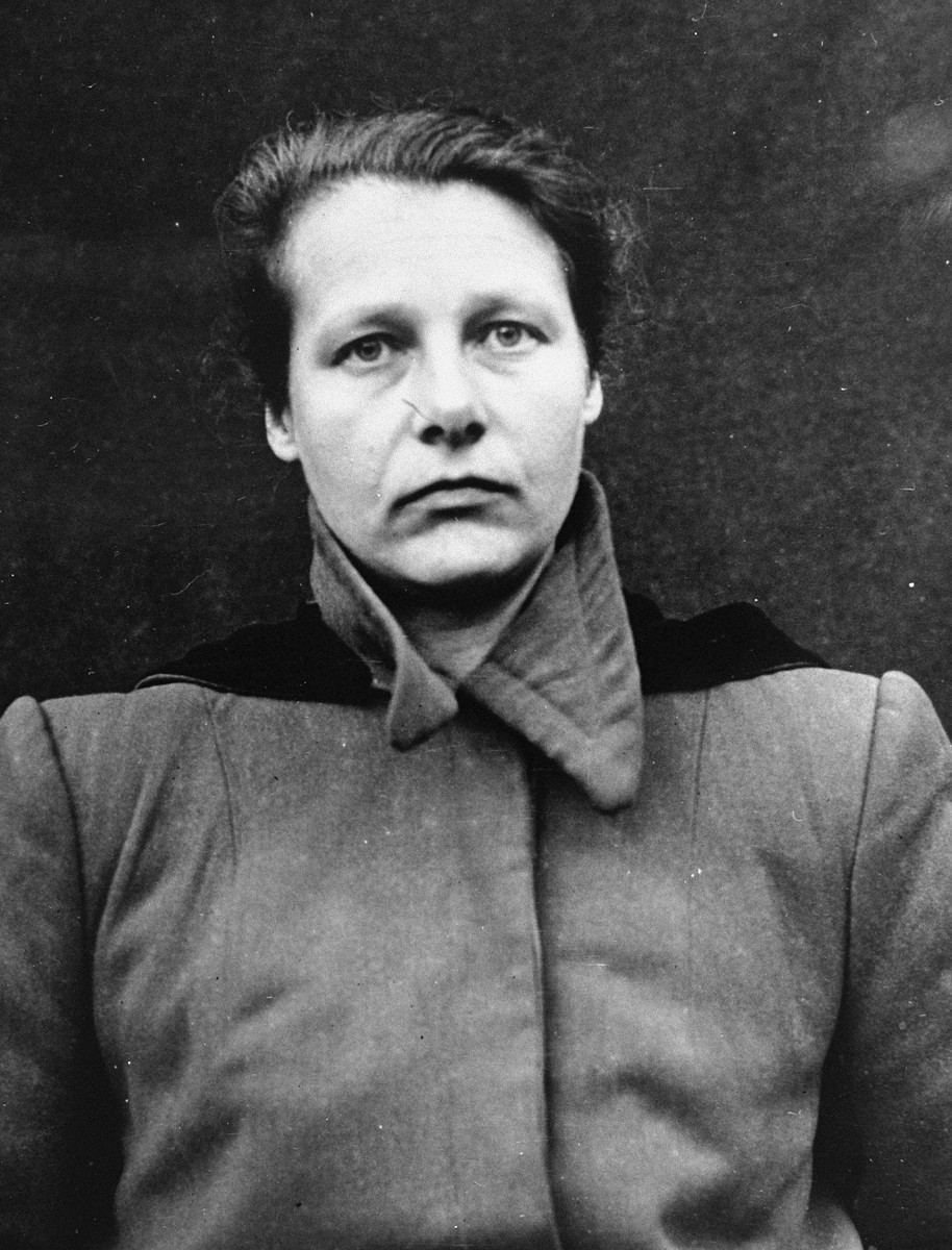 Portrait of Herta Oberhauser as a defendant in the Medical Case Trial at Nuremberg.