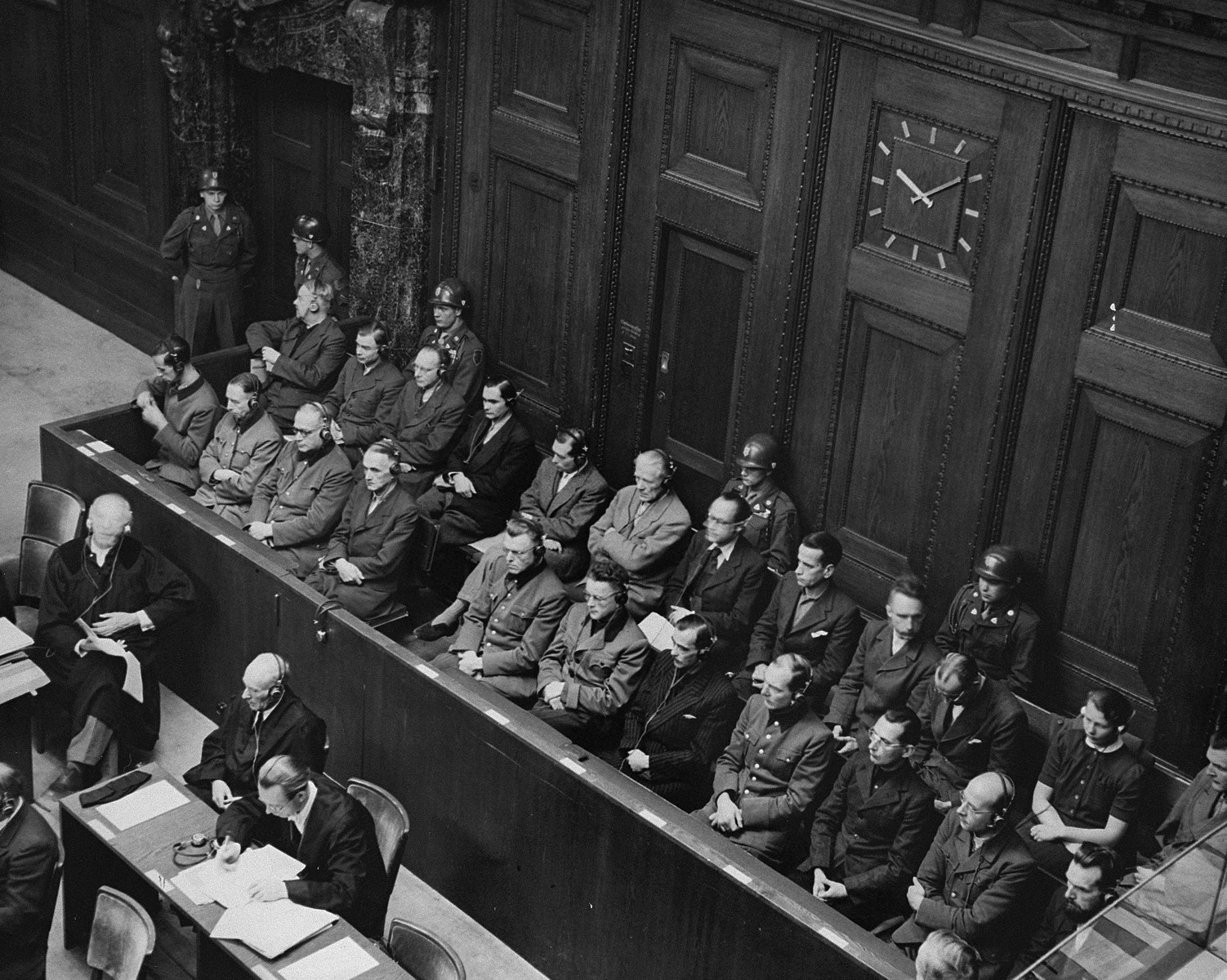 View from above of the defendants dock during a session of the Medical Case (Doctors') Trial in Nuremberg.