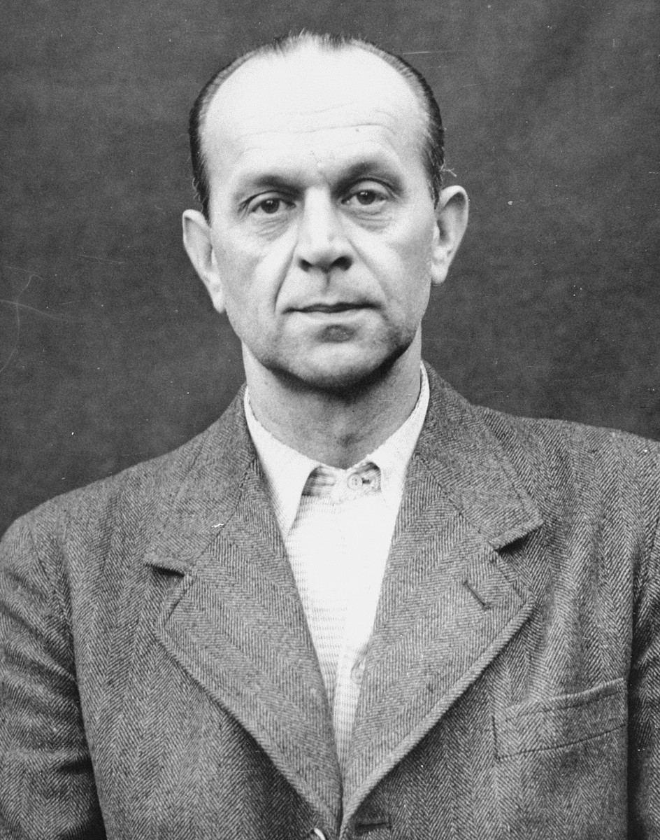 Portrait of Adolf Pokorny as a defendant in the Medical Case Trial at Nuremberg.
