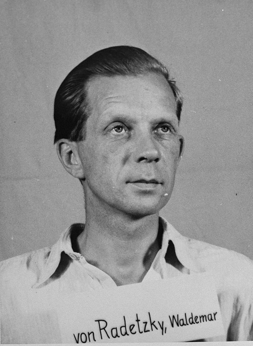 Defendant Waldemar von Radetzky at the Einsatzgruppen Trial.  Radetzky was the Deputy Chief of Sonderkommando 4a of Einsatzgruppe C.