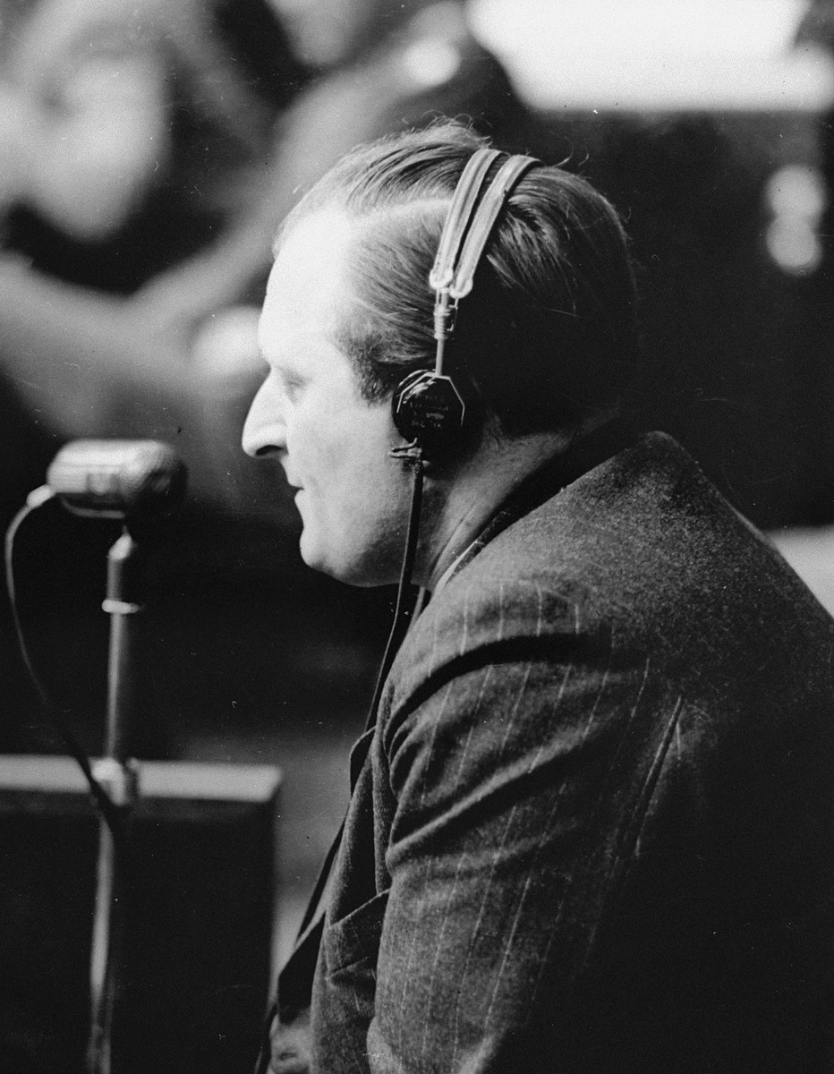 Fritz Kirchheimer, a former Buchenwald concentration camp inmate and assistant to defendant Dr. Joachim Mrugowsky, testifies as a witness for the prosecution at a session of the Medical Case (Doctors') Trial in Nuremberg.