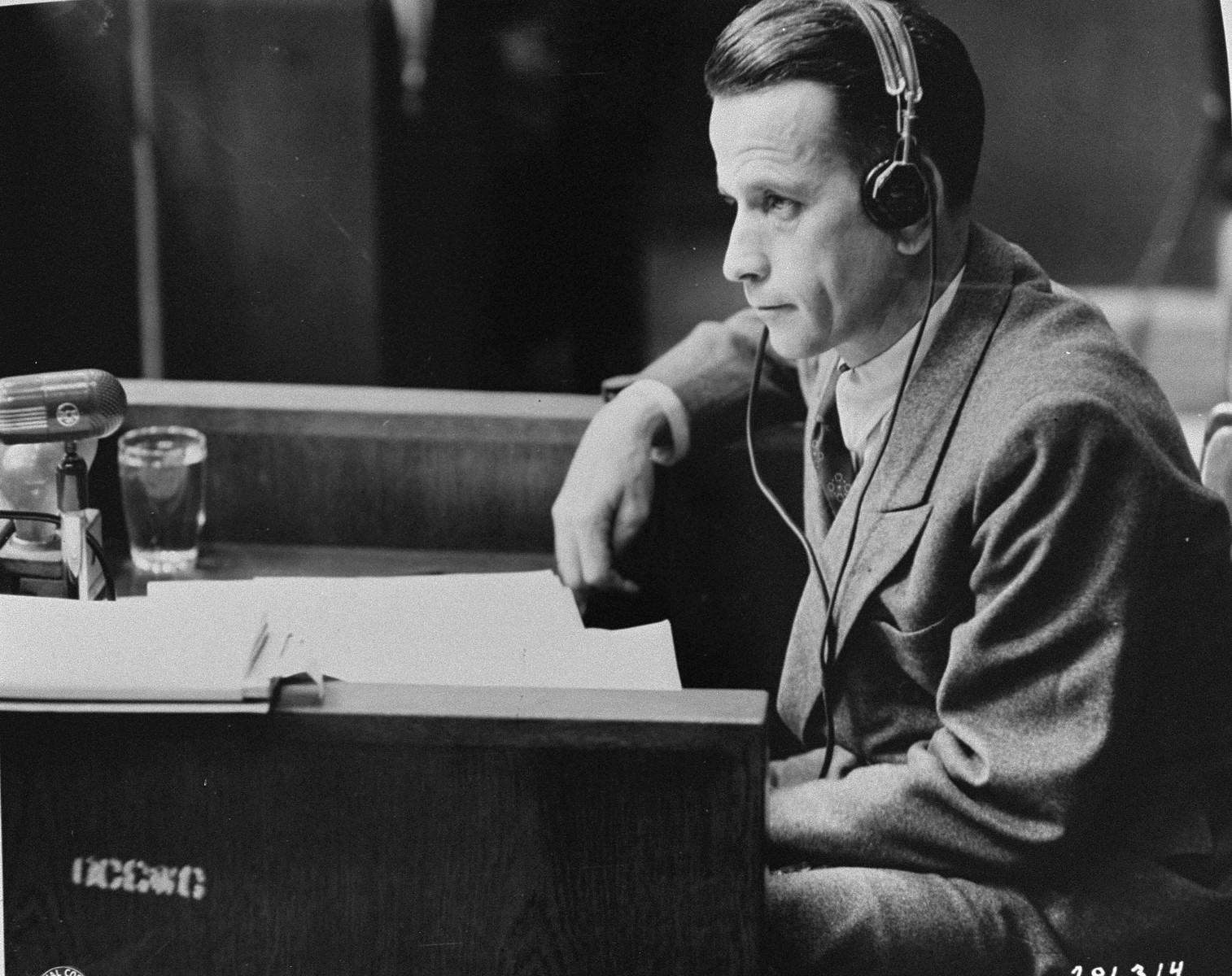 Dr. Waldemar Hoven, the former chief doctor at Buchenwald, testifies in his own defense at the Doctors Trial.