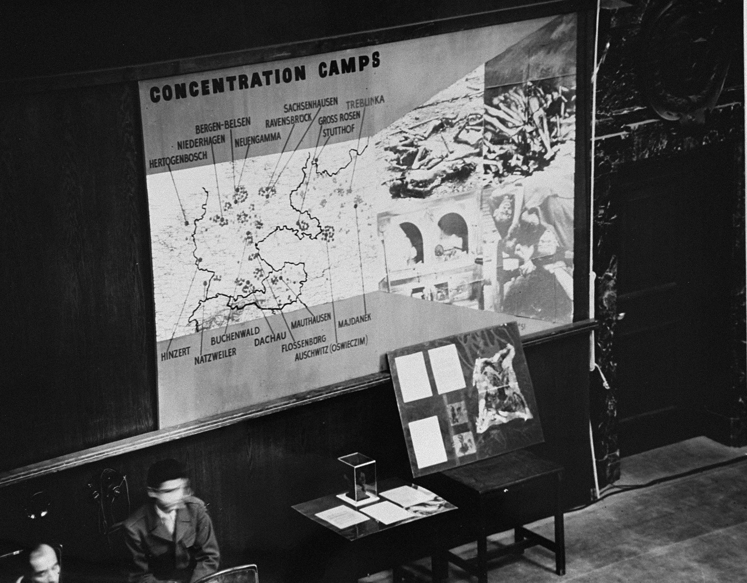 Photographs, artifacts, and a map presented as evidence at the International Military Tribunal trial of war criminals at Nuremberg.