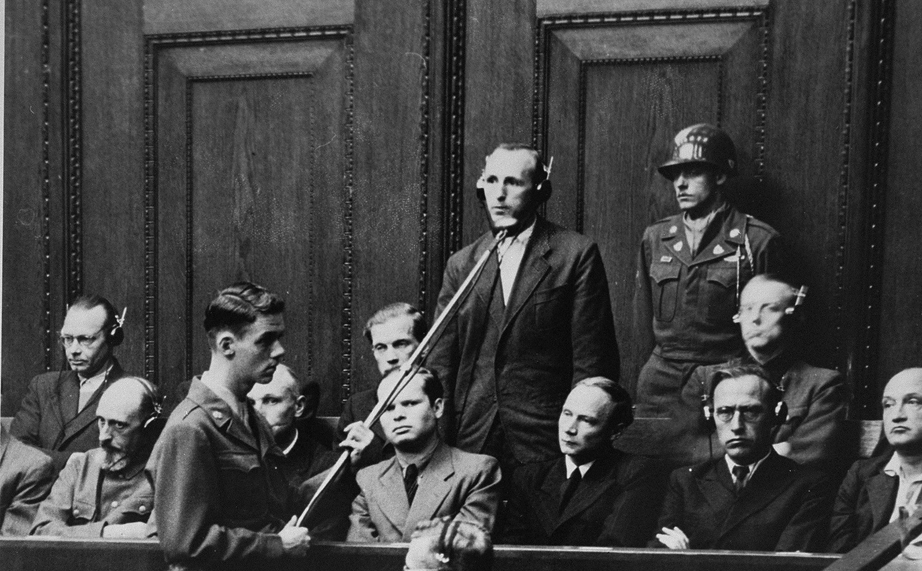 Defendant Walter Blume pleads not guilty during his arraignment at the Einsatzgruppen Trial.
