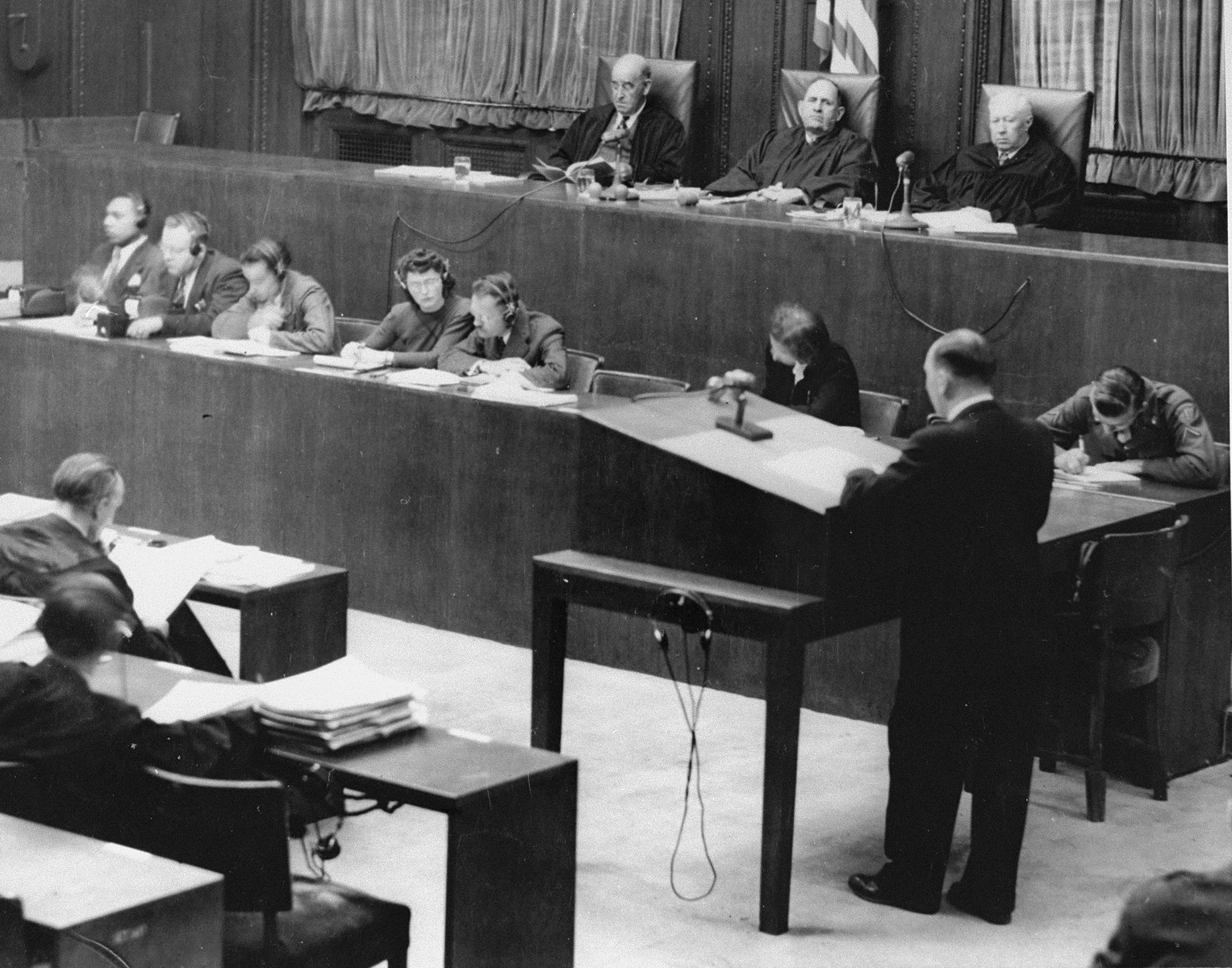 A lawyer presents an argument at the podium during a session of the RuSHA Trial.