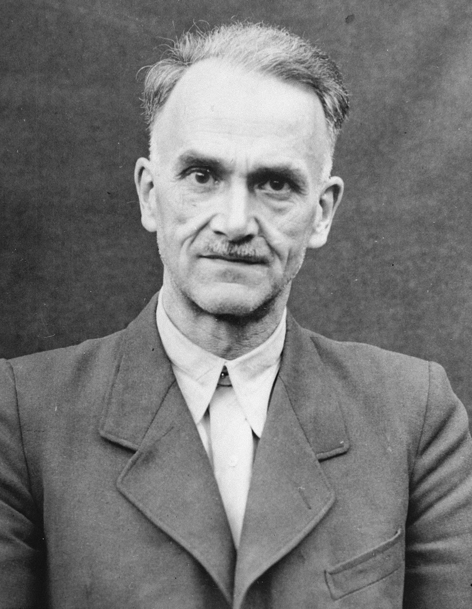 Portrait of Oskar Schroeder as a defendant in the Medical Case Trial at Nuremberg.