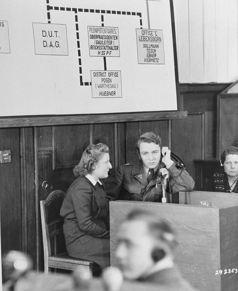 An 18 year old Czech girl testifies about the destruction of Lidice, Czechoslovakia at the RuSHA Trial.